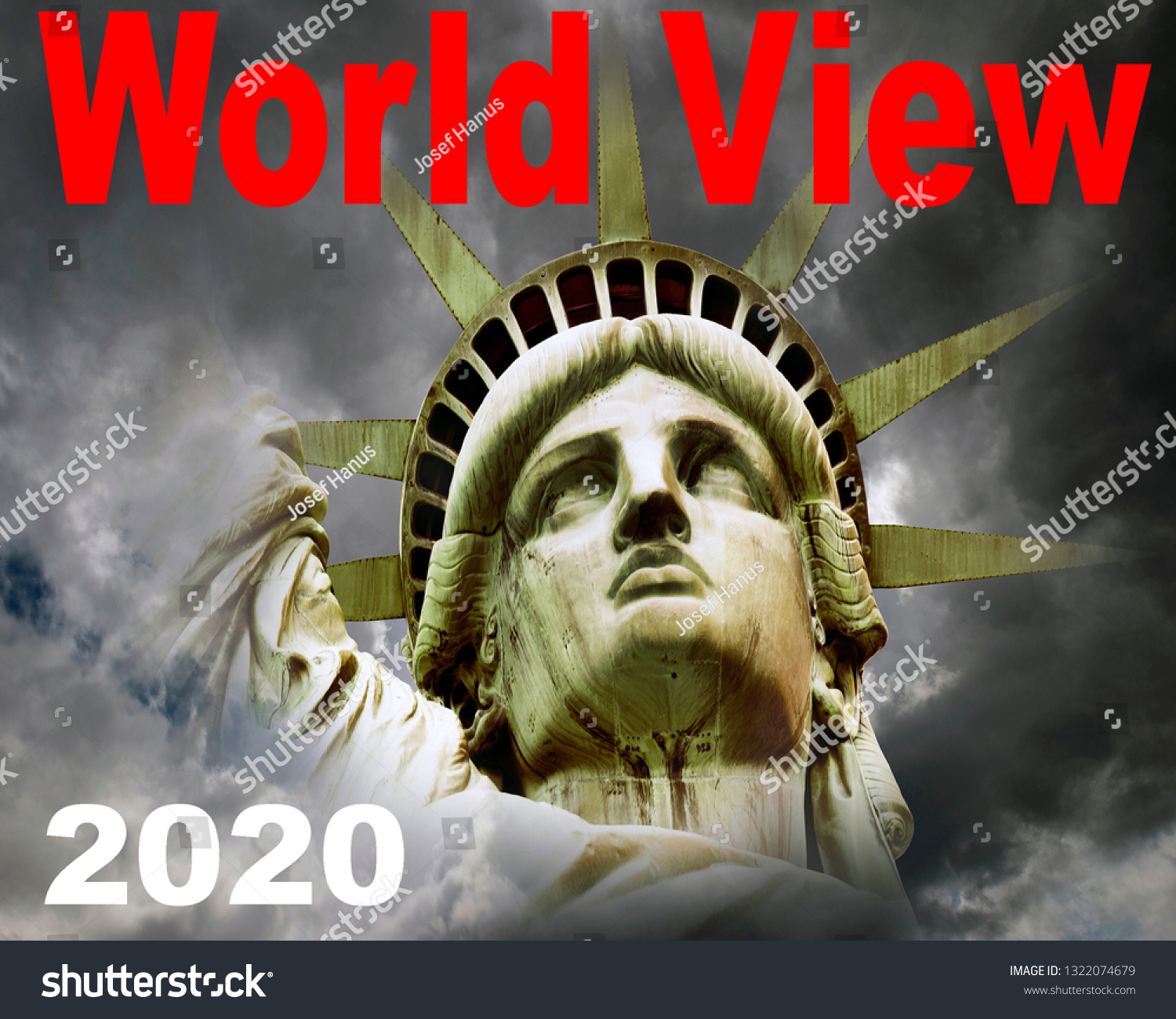 Liberty Calendar 2020 Statue Liberty Clouds Dramatic Stormy Weather Stock Photo (Edit