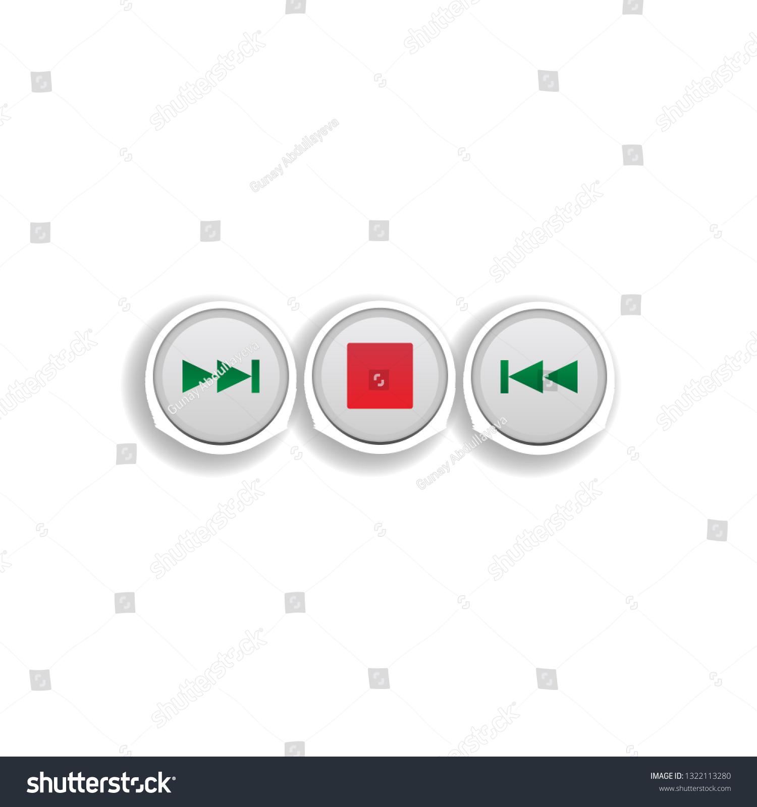 Music Track Control Button Colored Sticker Stock