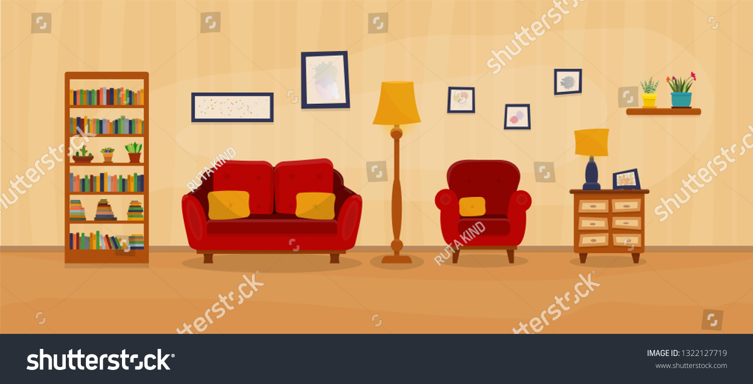 Groovy Cozy Living Room Couch Armchair Pillows Stock Vector Creativecarmelina Interior Chair Design Creativecarmelinacom