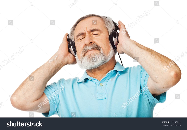 old man listening music headphones on stock photo edit now