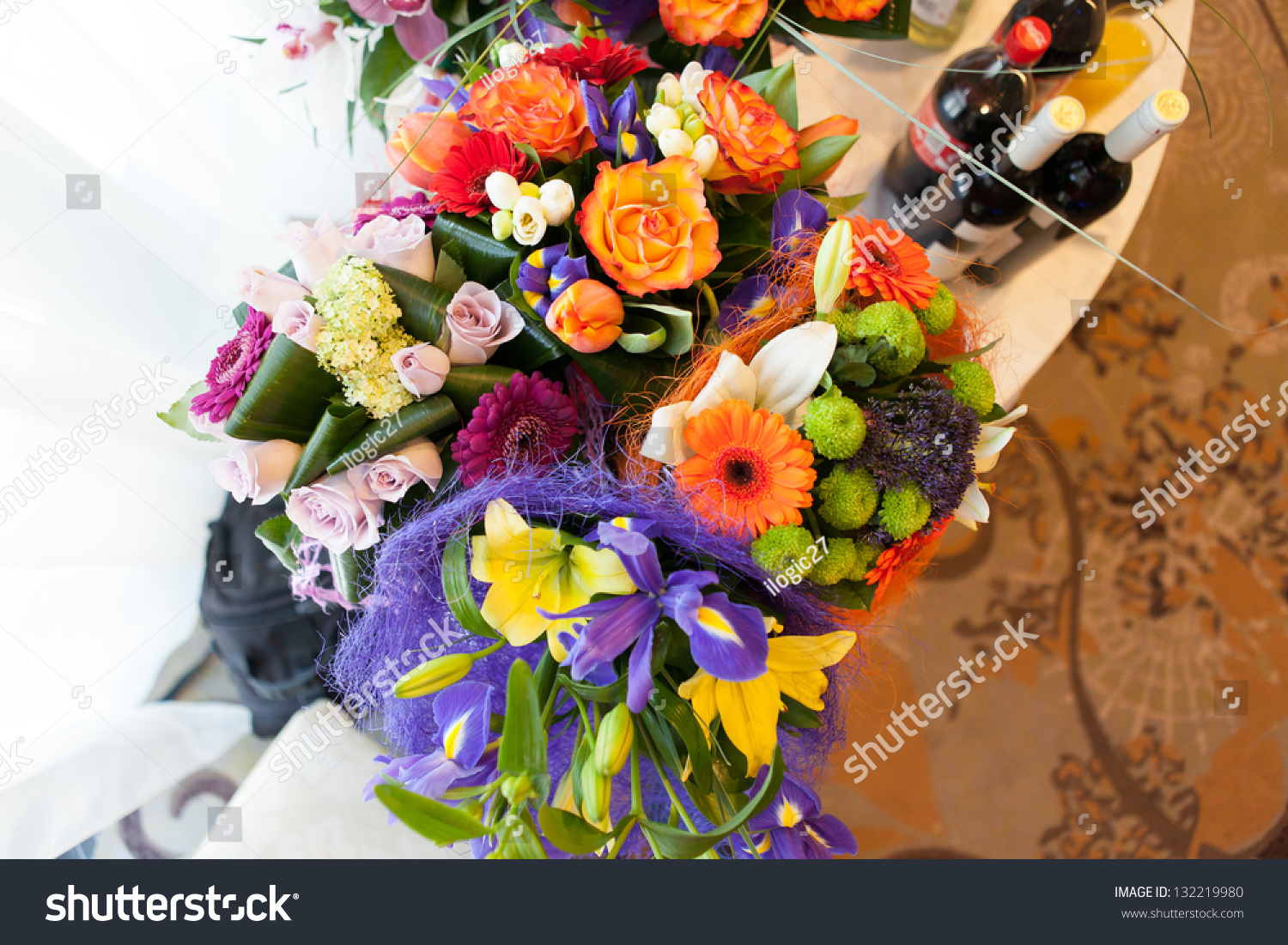 Different Types Flower Arrangements Isolated On Stock Photo Royalty