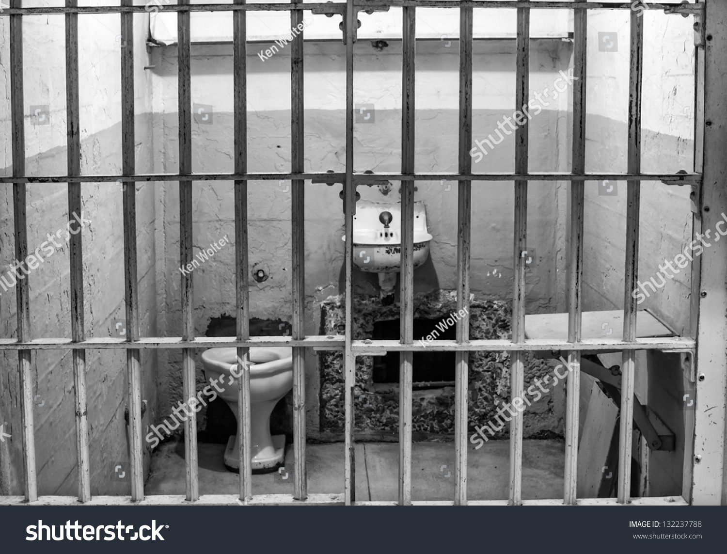 Prison Cell Alcatraz Island Cell Block Stock Photo
