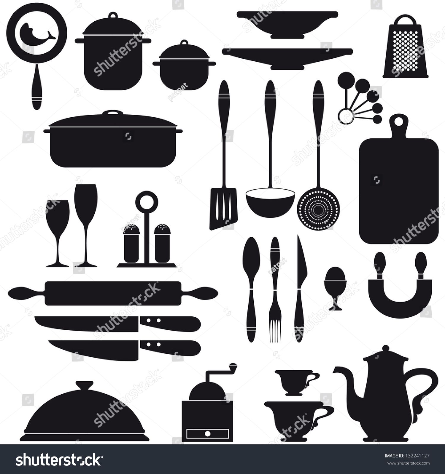 Kitchen Utensils Background set kitchen utensils icons black on stock vector 132241127