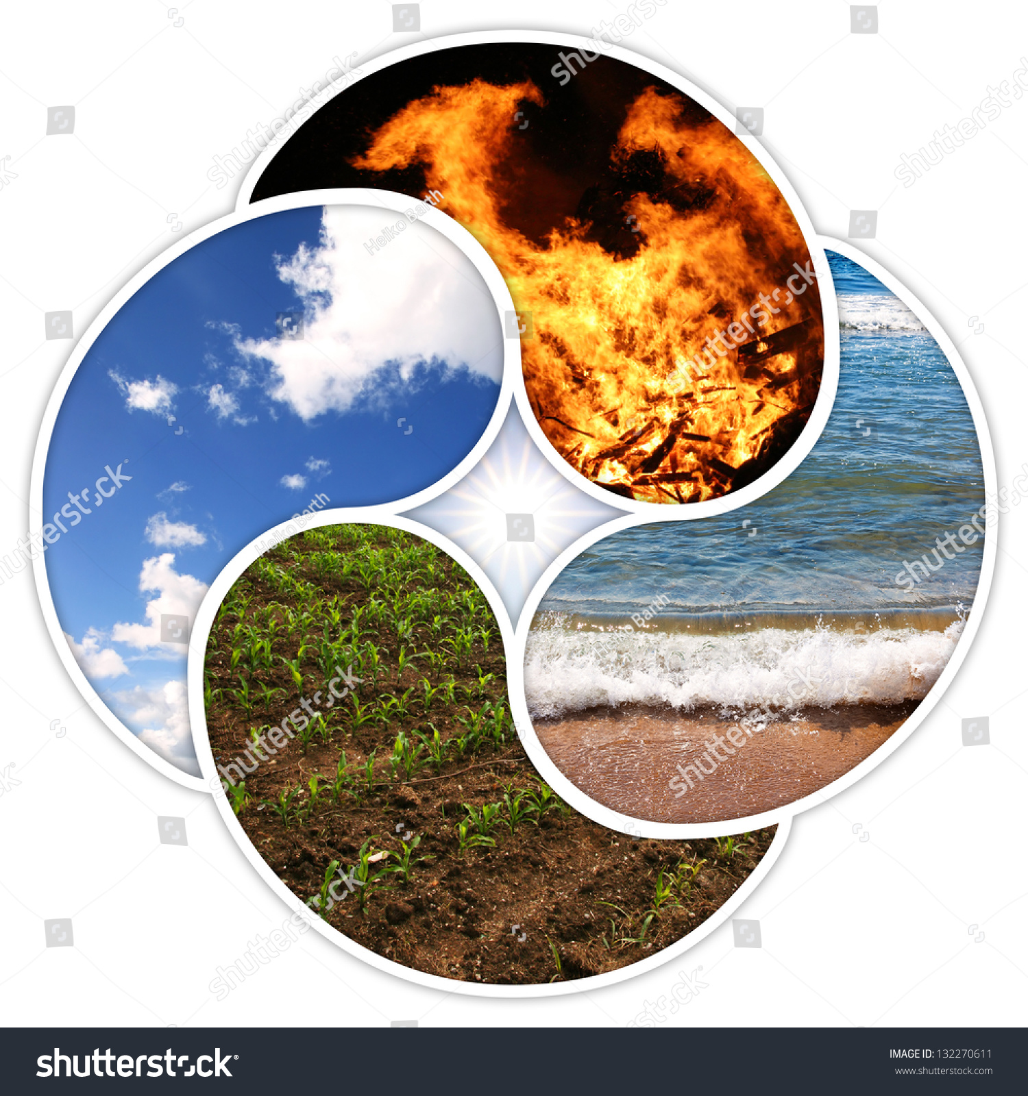 Four Elements Nature Fire Water Earth Stock Photo