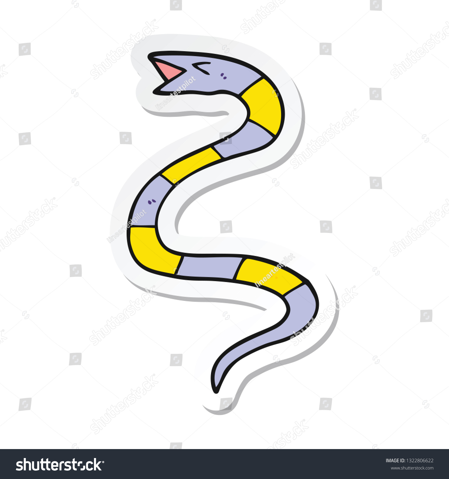 Sticker Cartoon Snake Stock Vector (Royalty Free) 1322806622