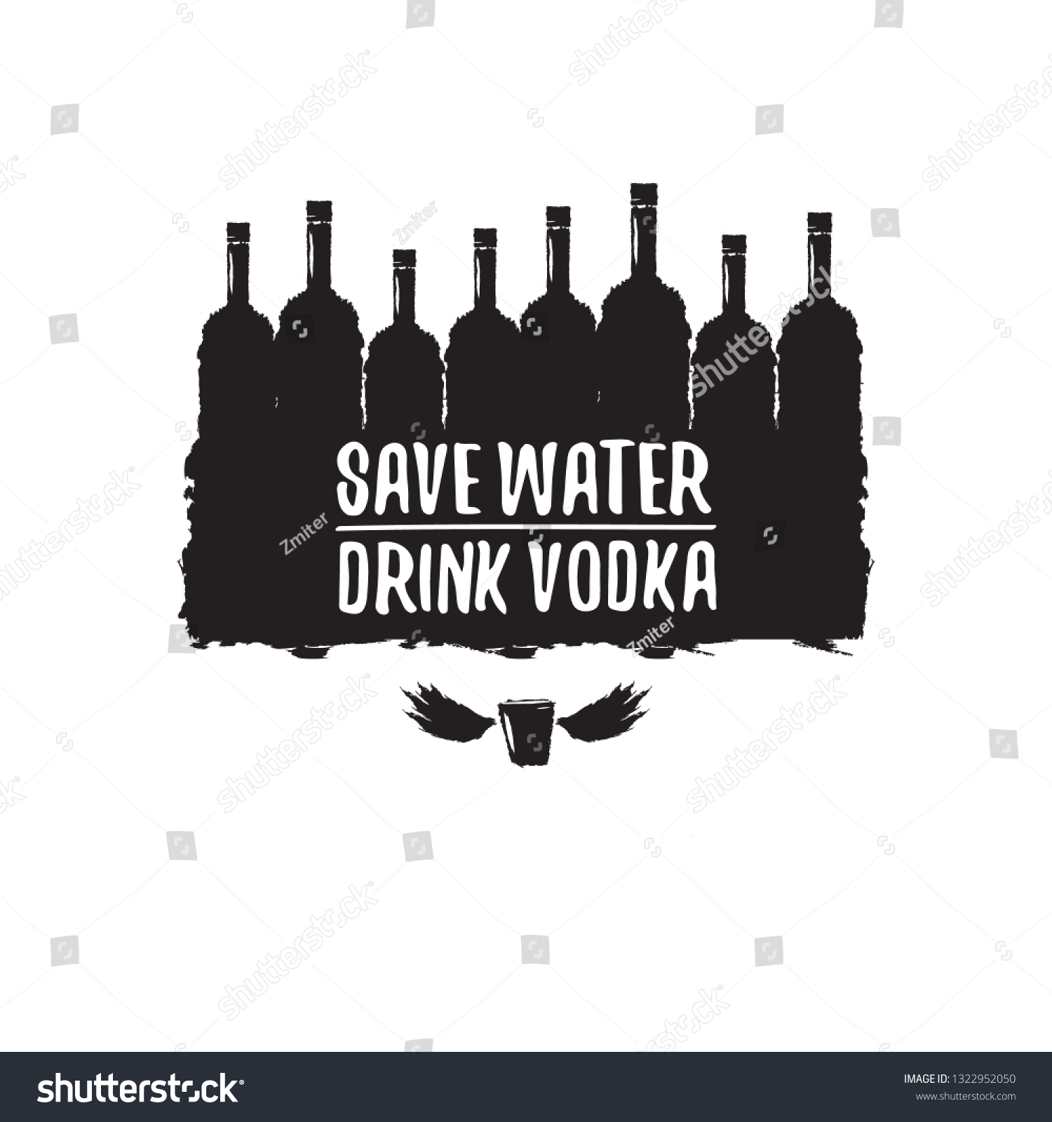 Save Water Drink Vodka Funny Quotes Stock Vector Royalty