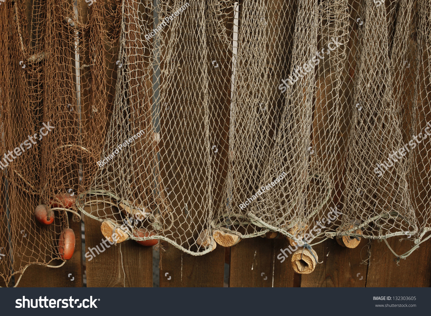 Fishing Net Is Hanging On The Wall Stock Photo 132303605