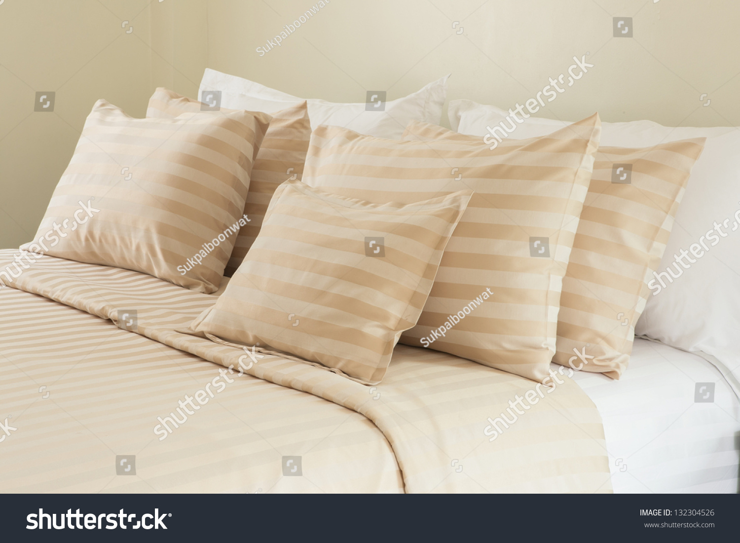 comfortable soft pillows on bed stock photo 132304526