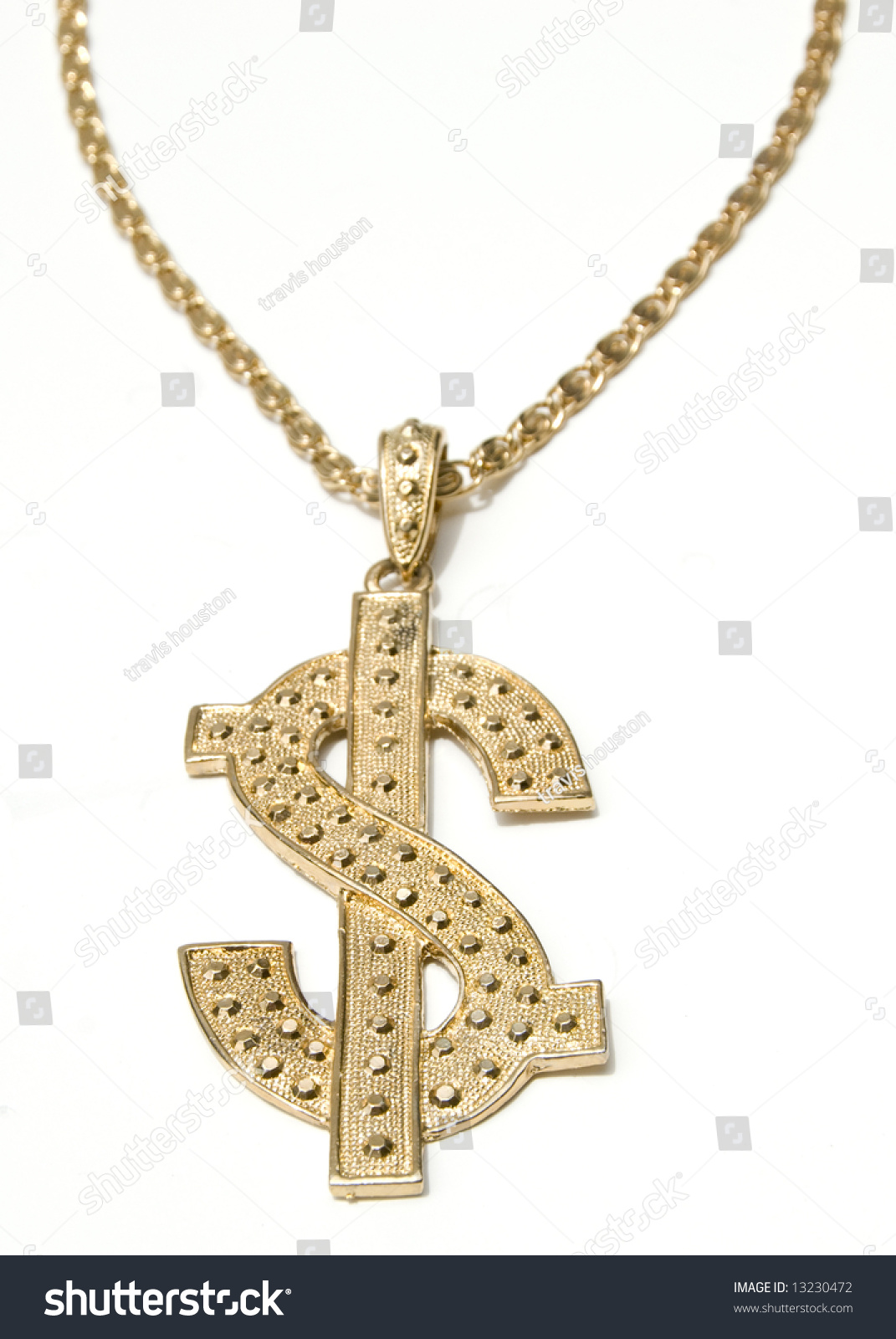 Gold dollar symbol chain necklace on stock photo 13230472 gold dollar symbol chain necklace on white background biocorpaavc