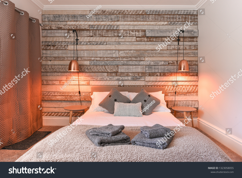 Modern Bedroom Rustic Wooden Headboard White Stock Photo Edit Now 1323058055