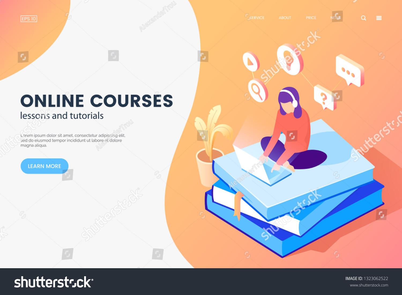 Online Courses Isometric Illustration Girl Laptop Stock Vector