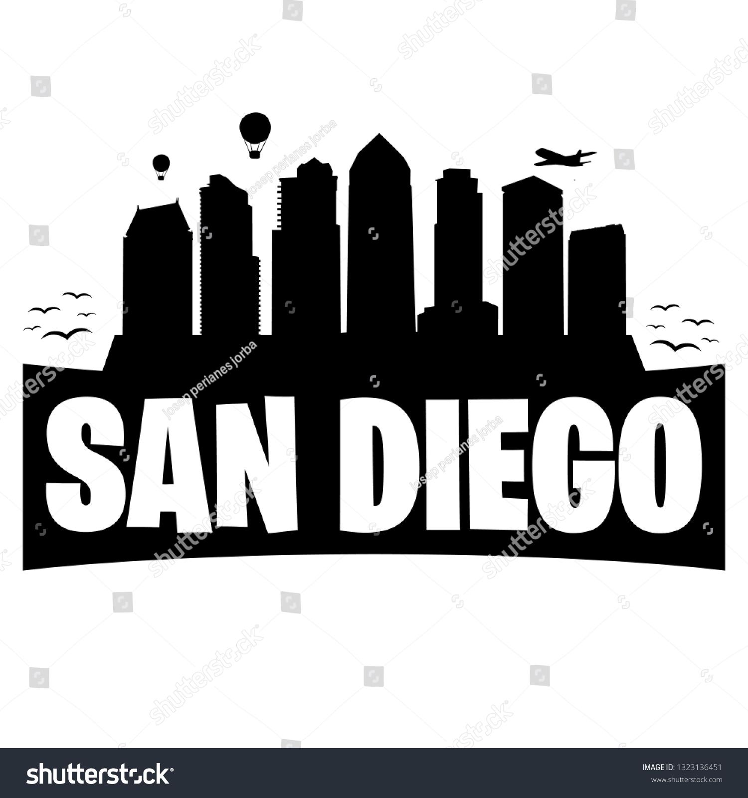 San Diego California City Skyline Silhouette Stock Vector Royalty Free 1323136451