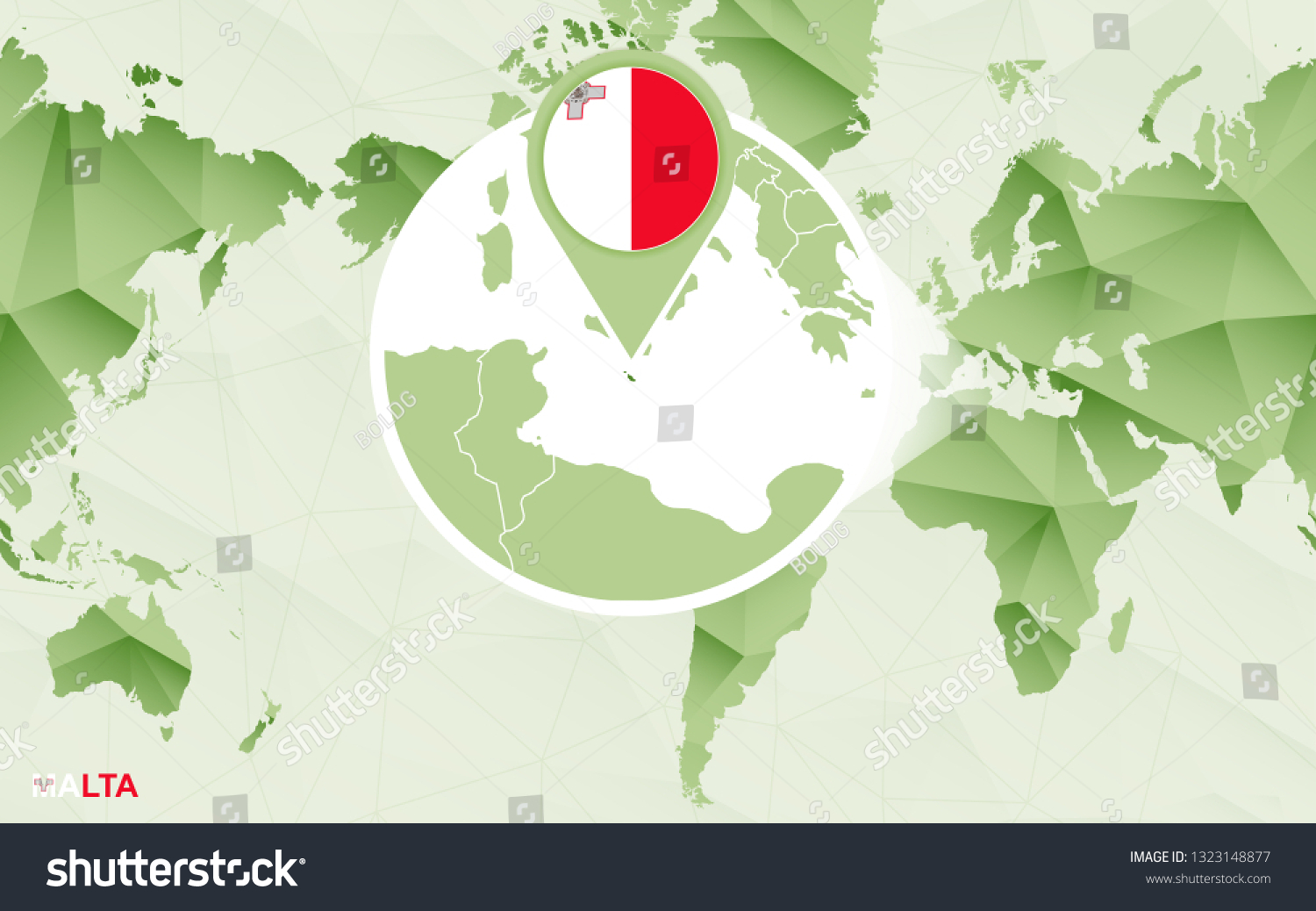America Centric World Map Magnified Malta   Buildings ...