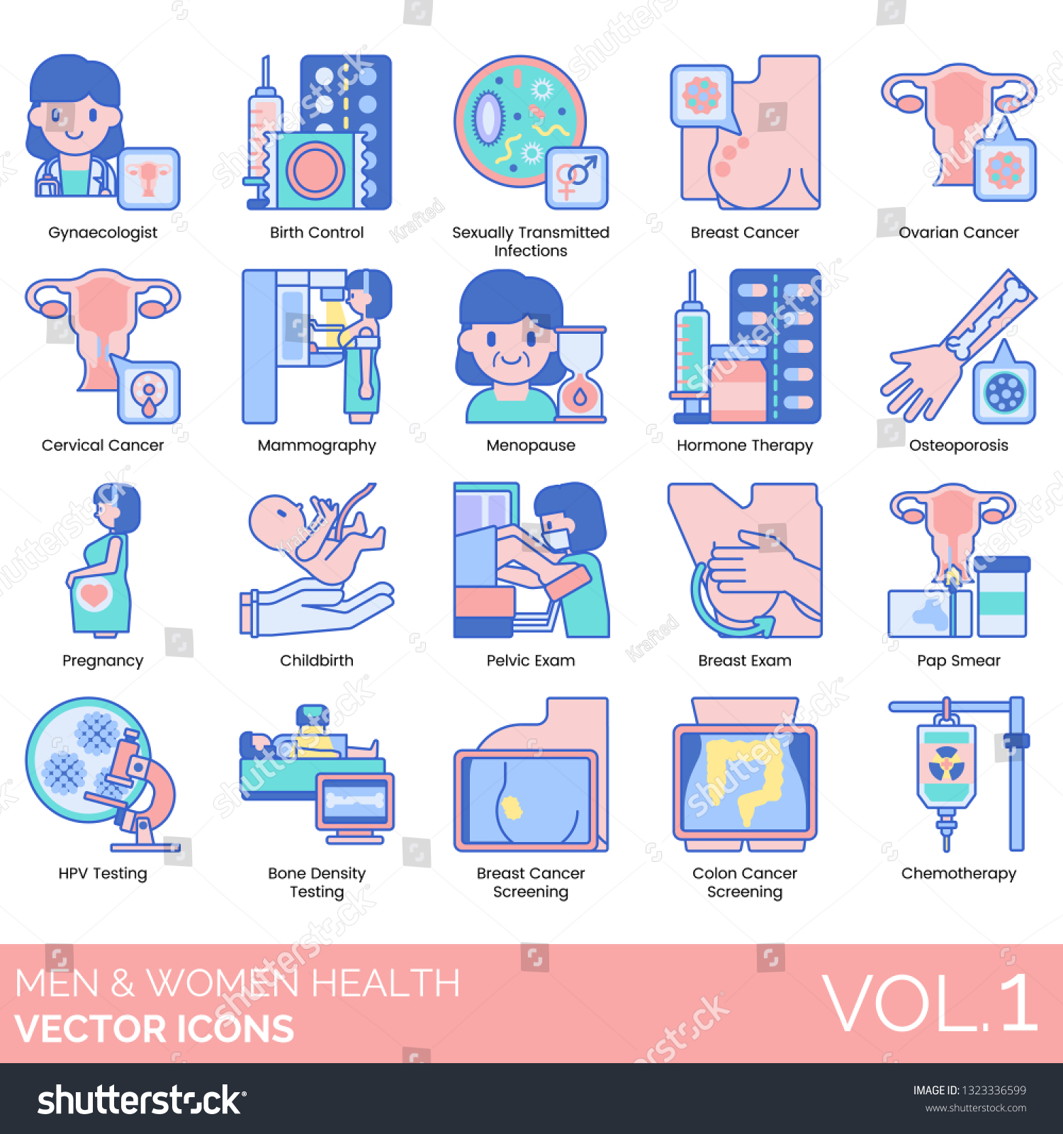 Men Women Health Icons Including Gynaecologist Stock Vector Royalty Free 1323336599