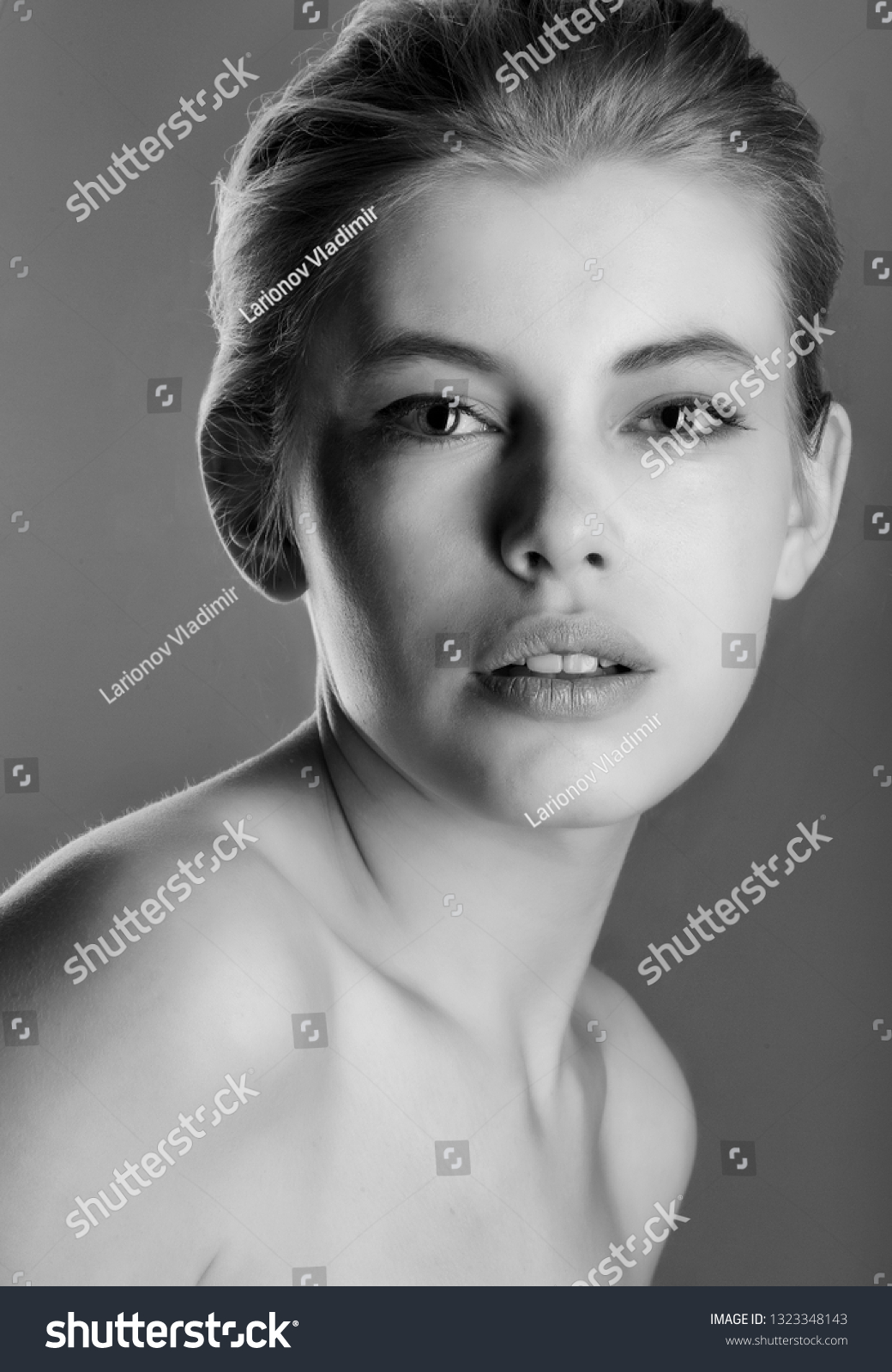 High contrast black white portrait beautiful stock photo edit now