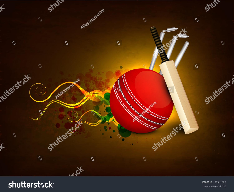 Cricket Vector Background Stock Image: Sports Concept Cricket Ball Bat Wicket Stock Vector