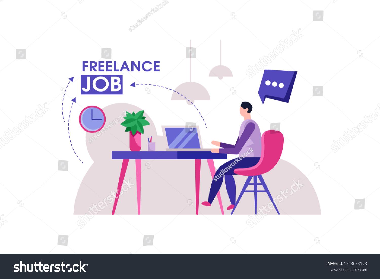Freelancer Designer Man Modern Home Office Stock Vector