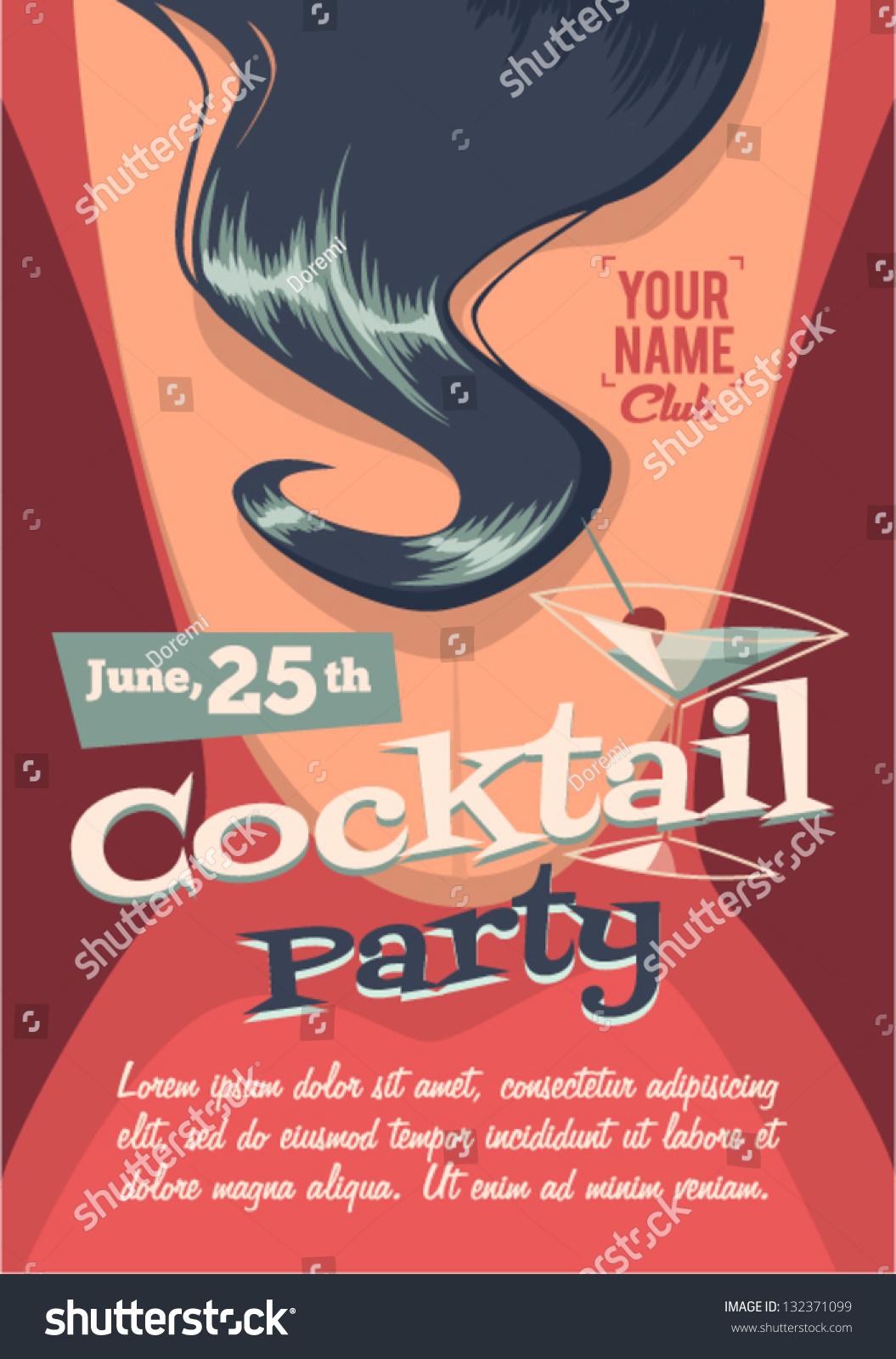 cocktail party poster stock vector illustration 132371099   shutterstock