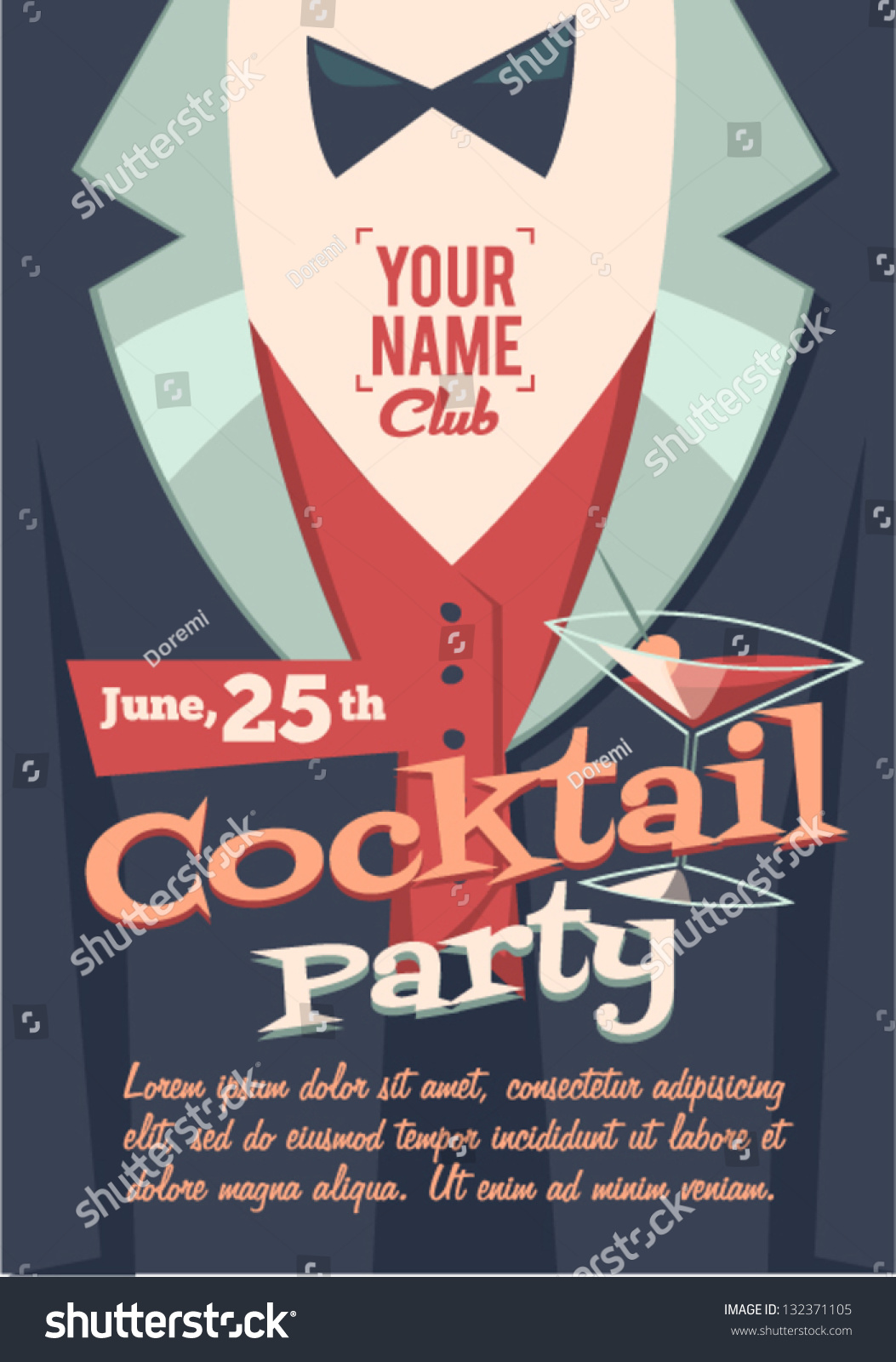 cocktail party poster stock vector 132371105