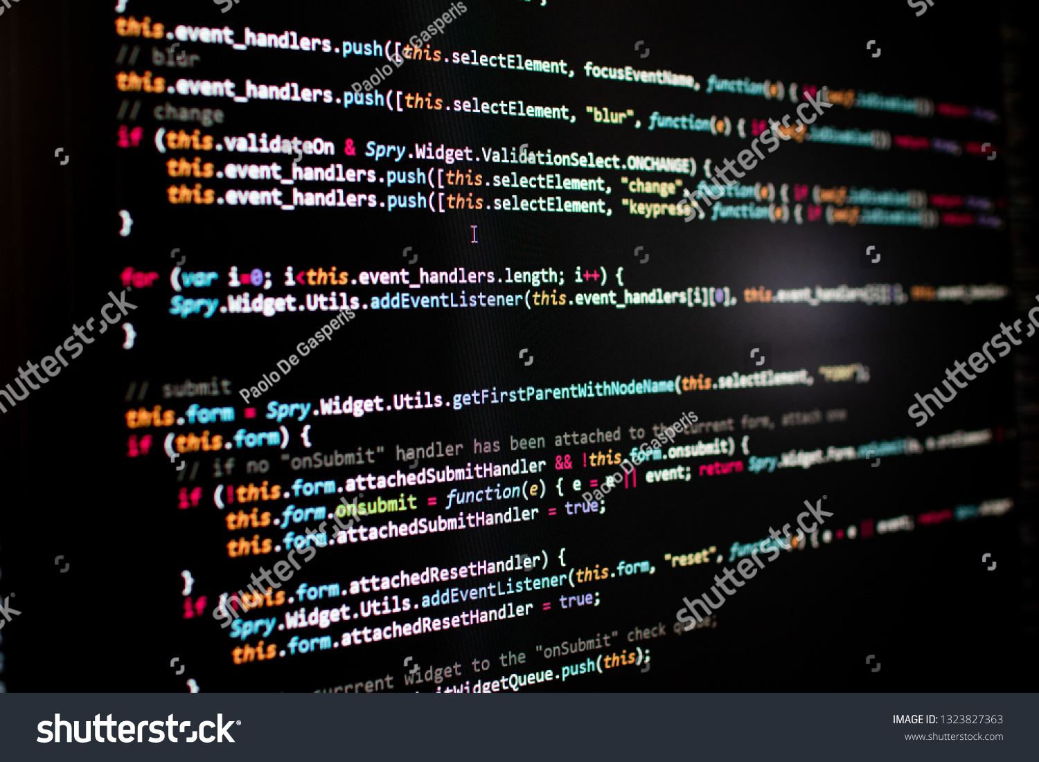 Javascript Lines Code Into Library Website Stock Photo (Edit