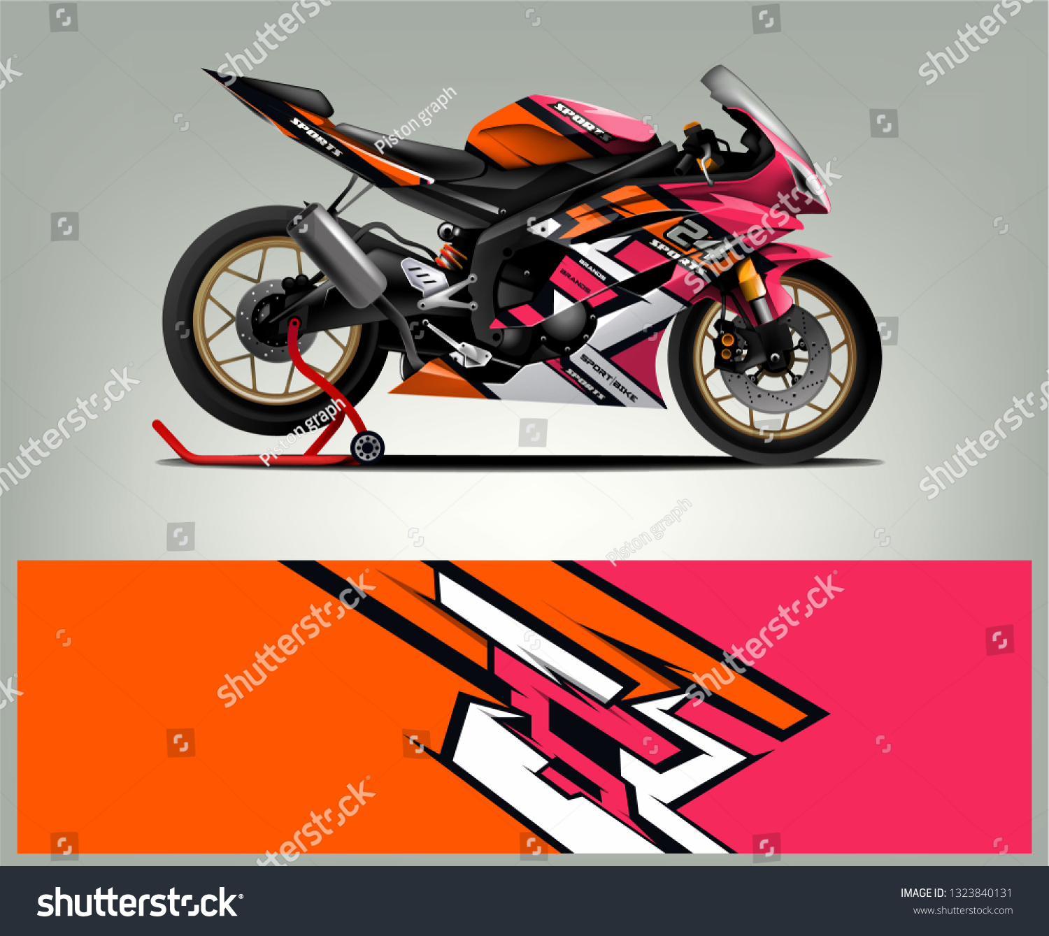 Motorcycle sport decal sticker wrap design vector graphic abstract stripe racing background kit designs for