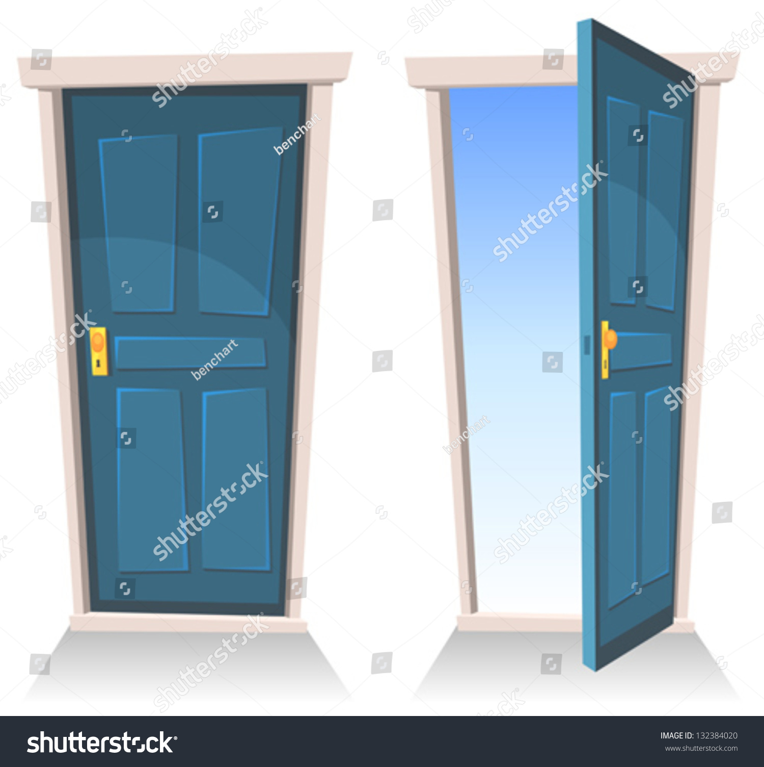 Cartoon person opening a door doors closed and open illustration