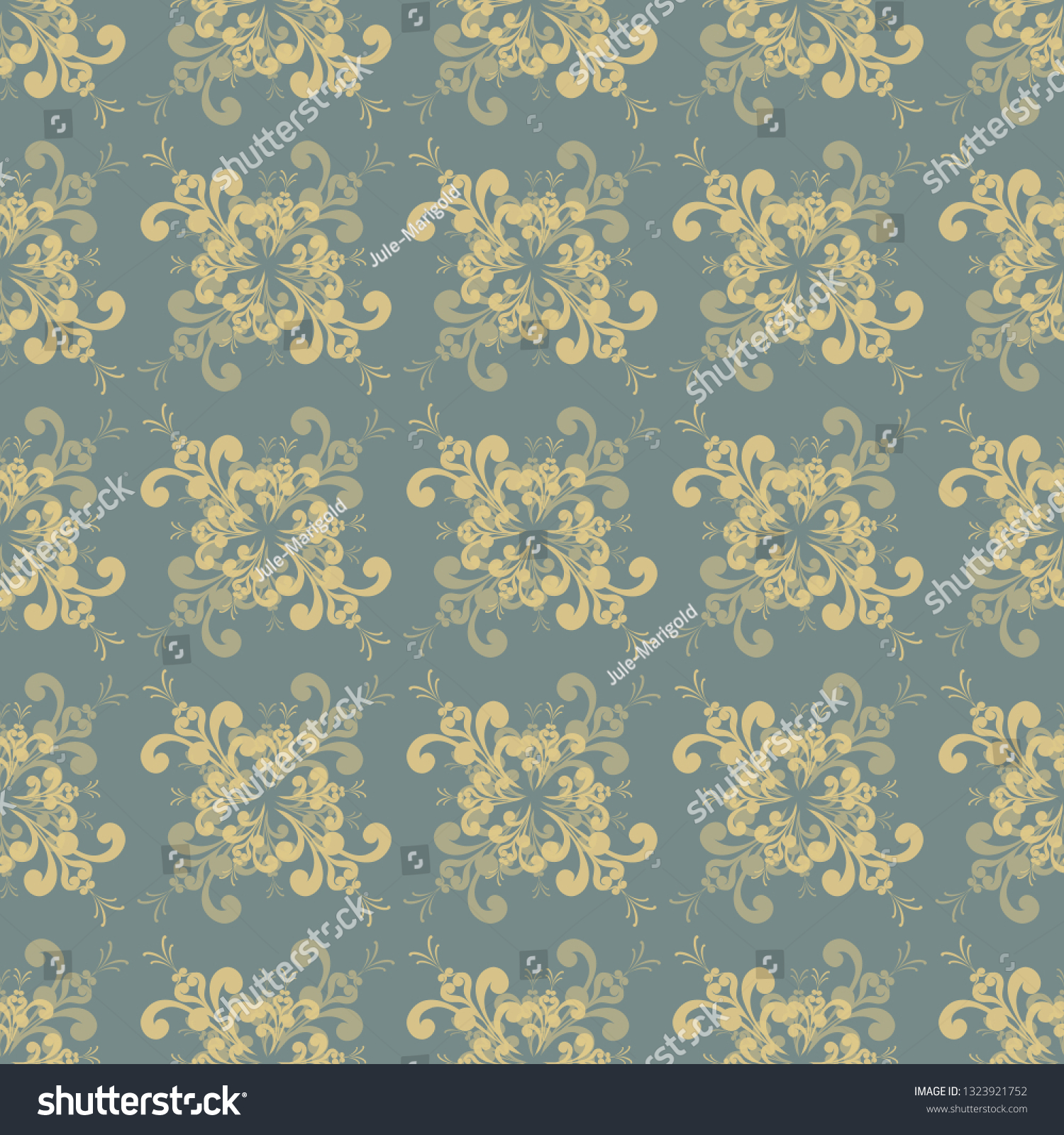 Seamless Floral Yellowgray Pattern Made Retro Stock Vector