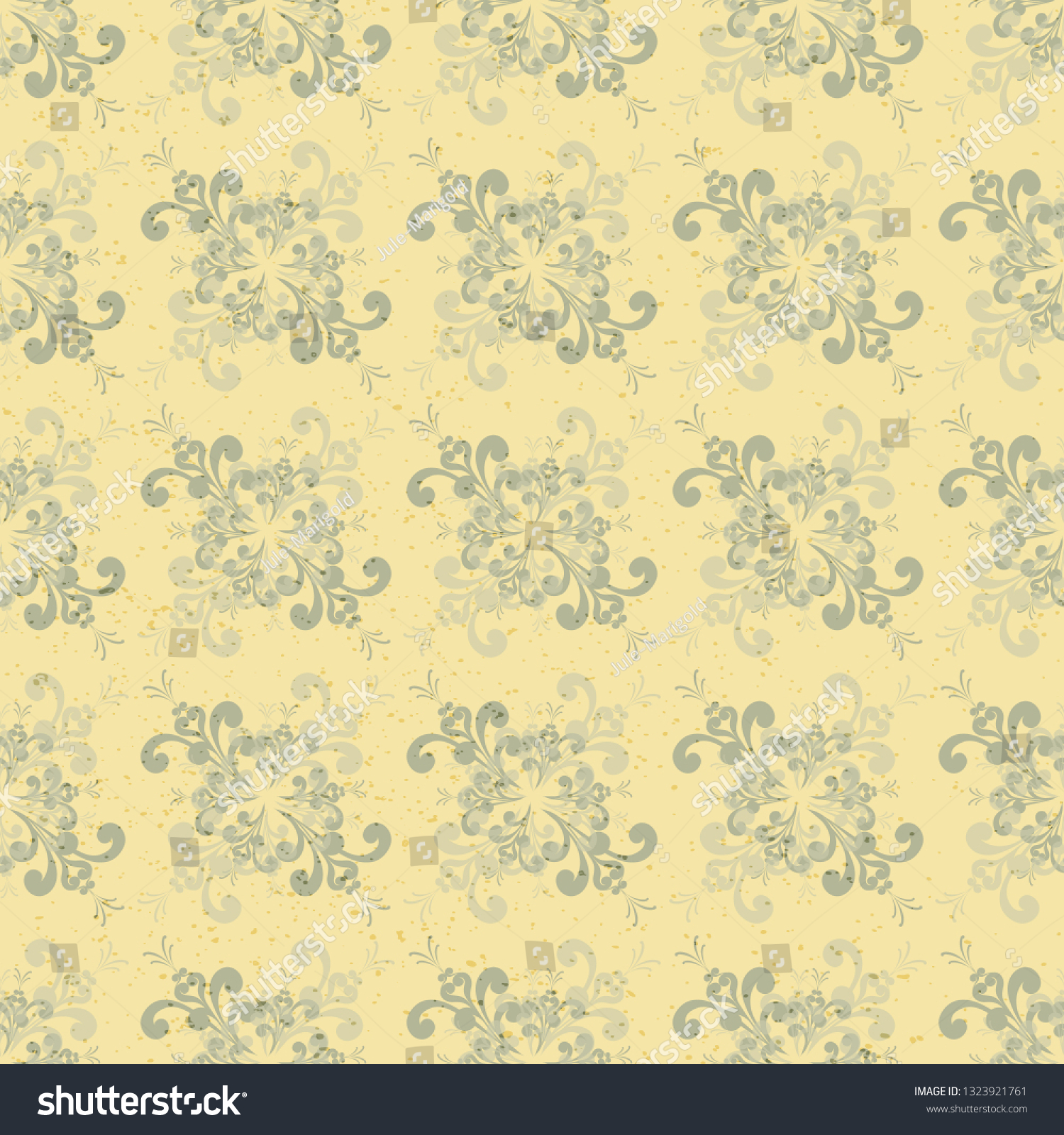 Seamless Floral Yellowgray Pattern Texture Made Vintage