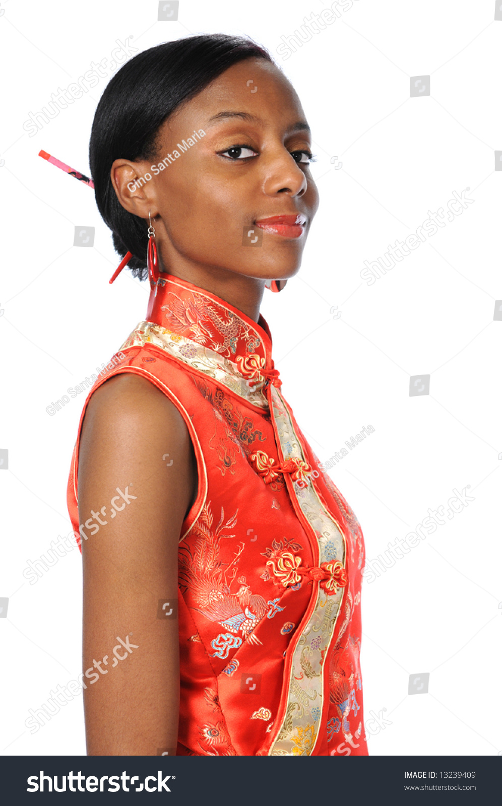 Young African American Woman Dressed Geisha Stock Photo ...