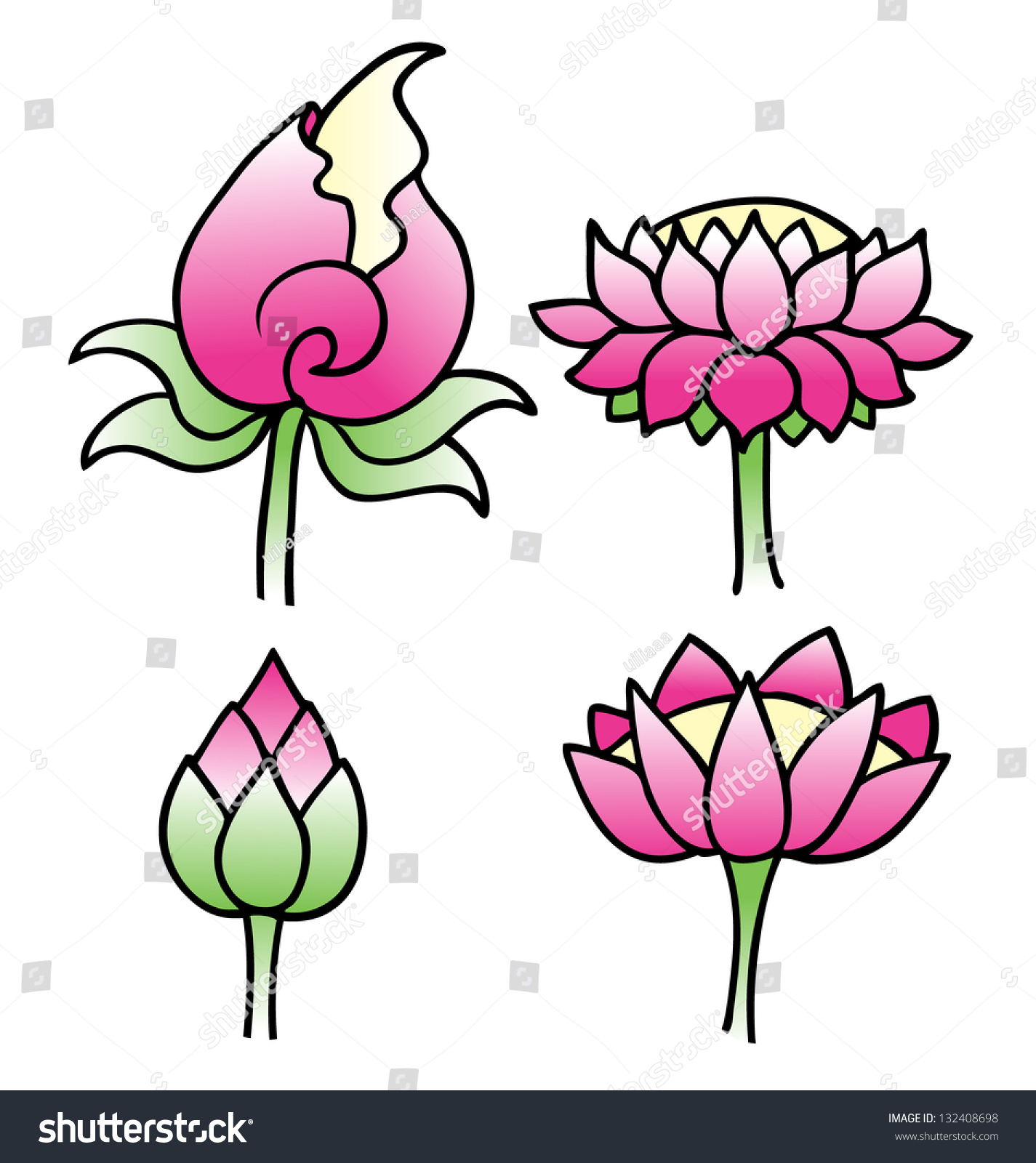 Set simple lotus flowers vector format stock vector royalty free set of simple lotus flowers in vector format izmirmasajfo