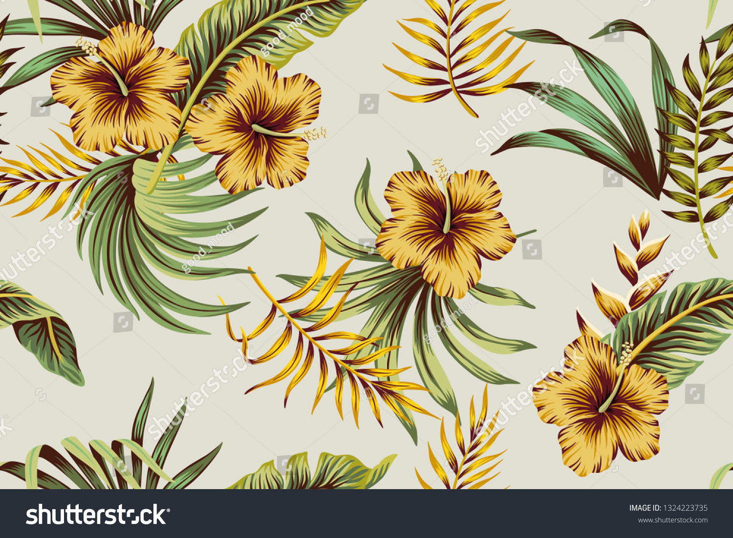 Tropical Vintage Yellow Hibiscus Flower Palm Stock Vector Royalty