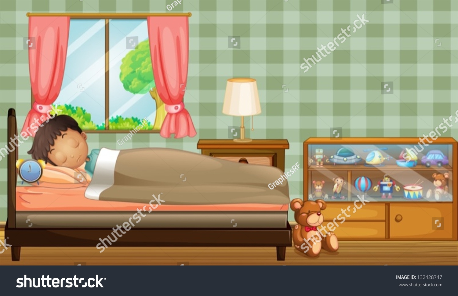 Illustration Of A Boy Sleeping Soundly Inside His Room