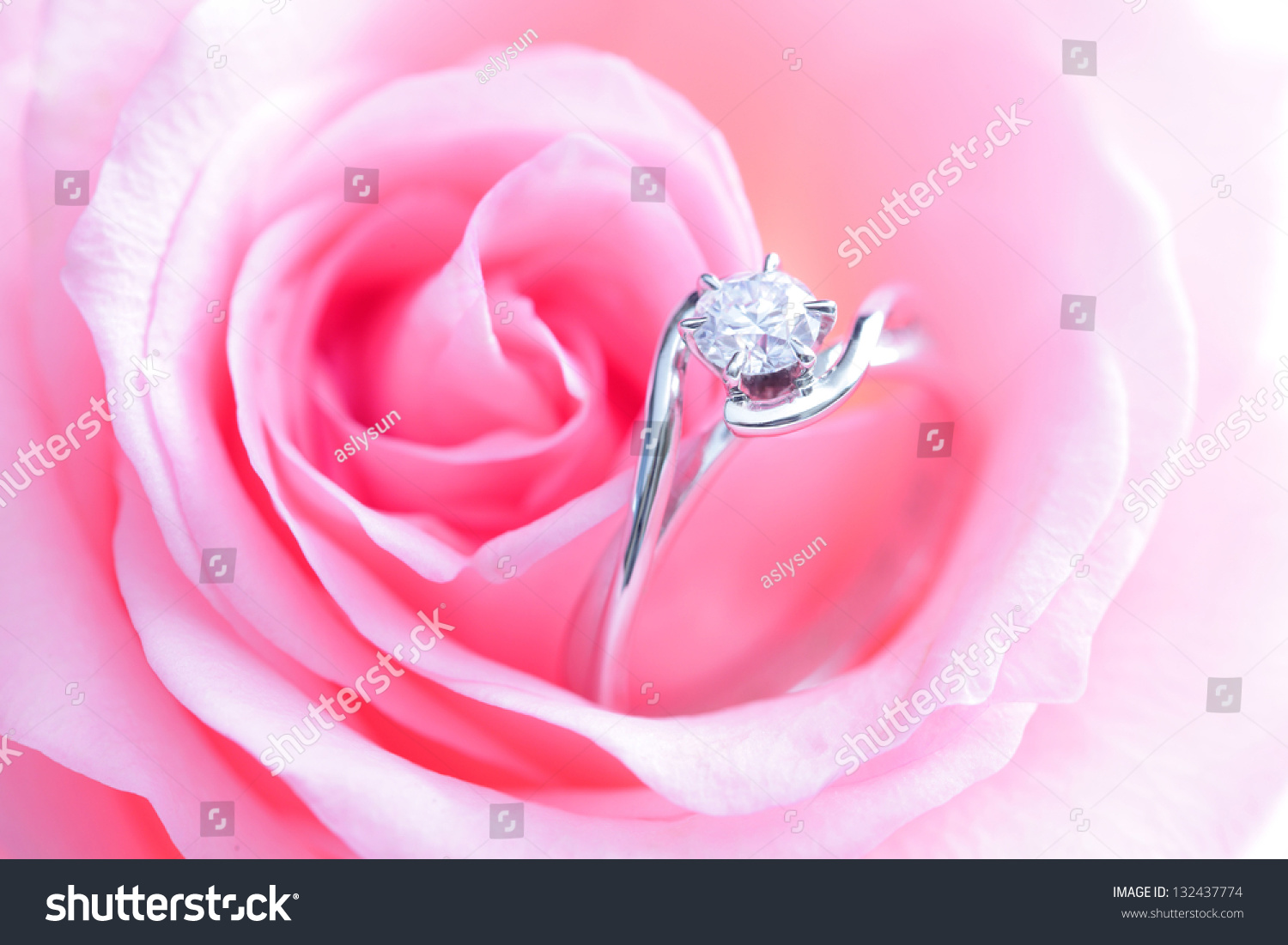 Beautiful Romantic Pink Rose Diamond Wedding Stock Photo (100% Legal ...
