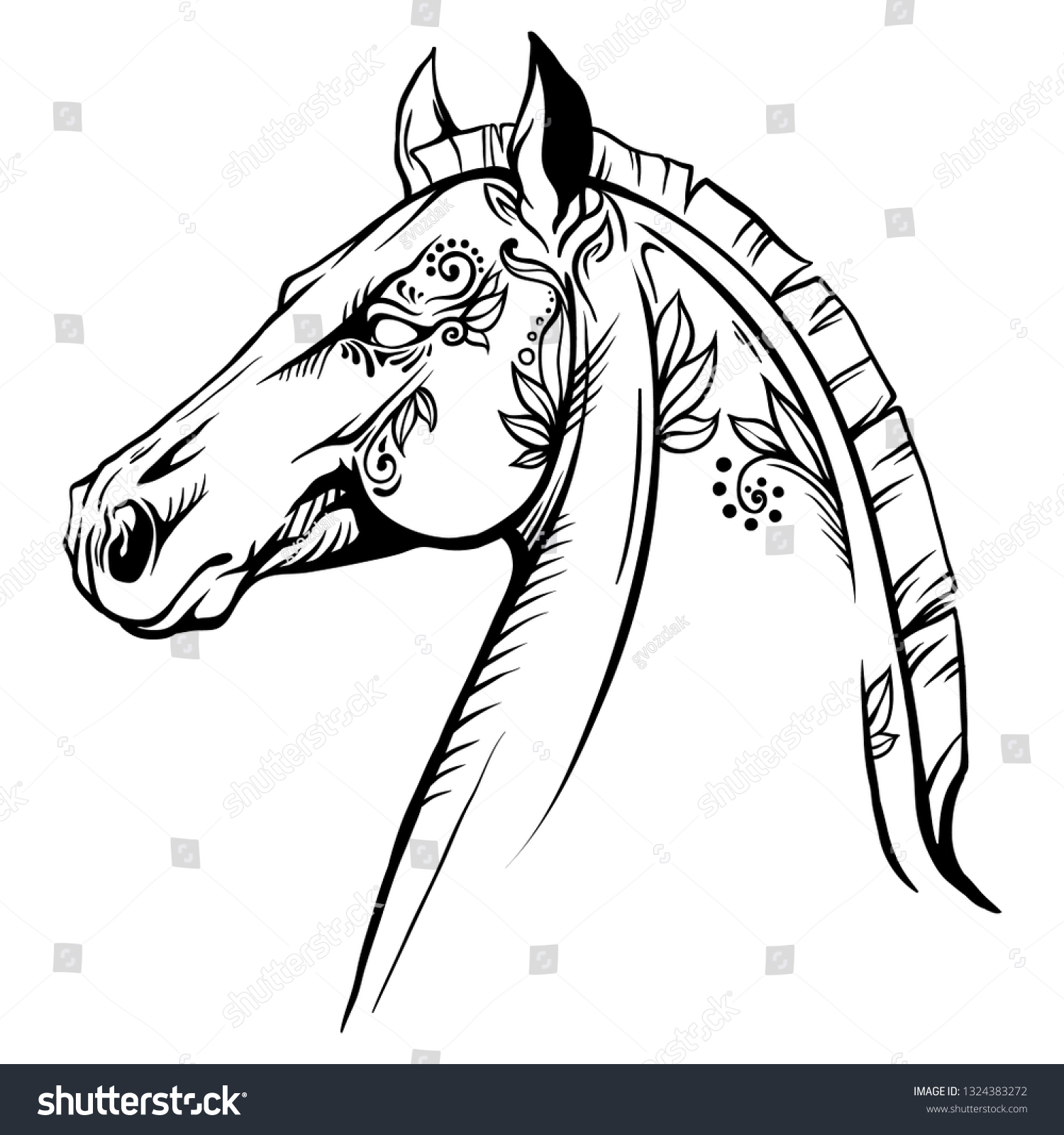 Vector De Stock Libre De Regalias Sobre Coloring Page Horse Head Pattern Flowers1324383272