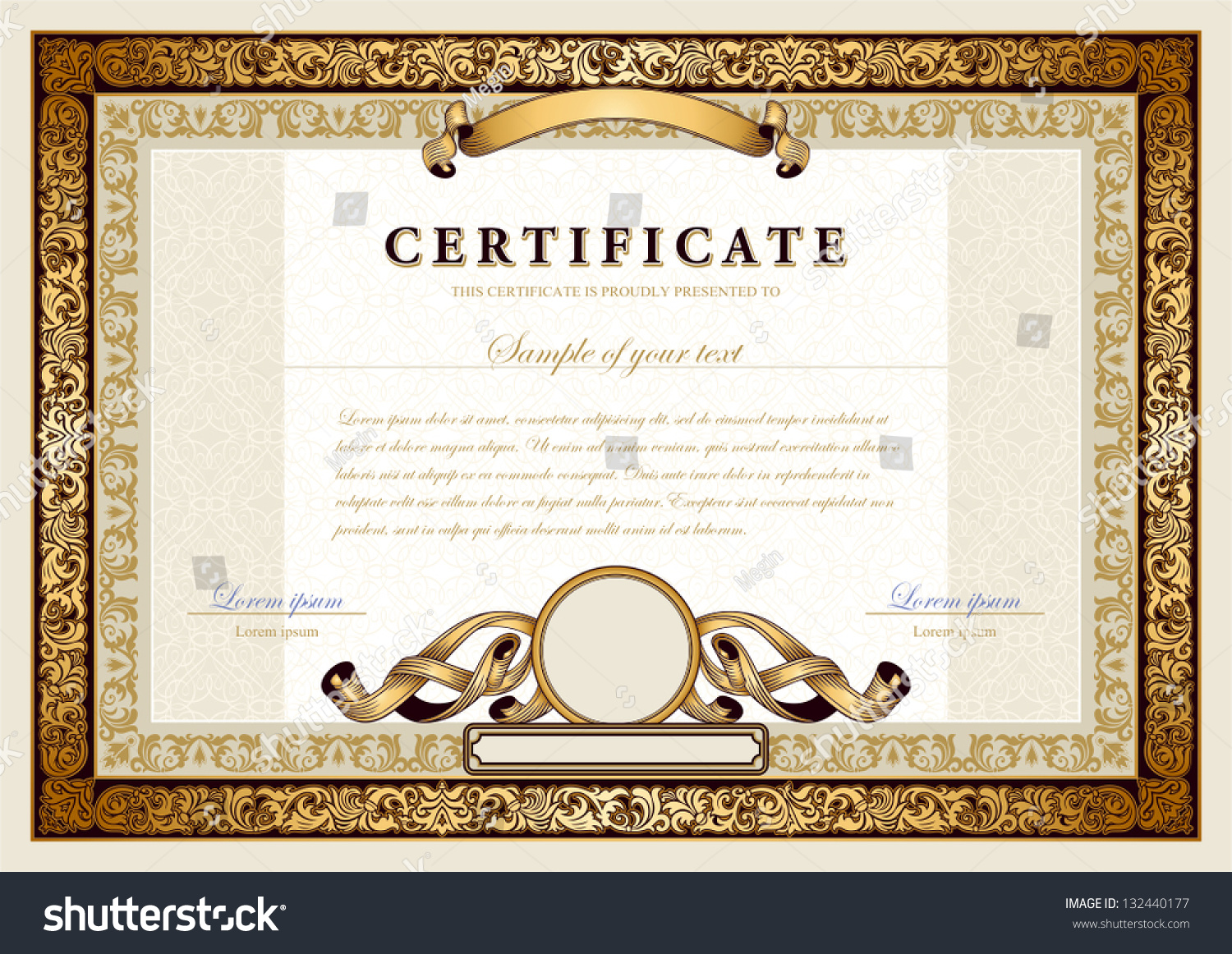 vintage certificate gold luxury or ntal frames stock vector vintage certificate gold luxury or ntal frames coupon diploma voucher