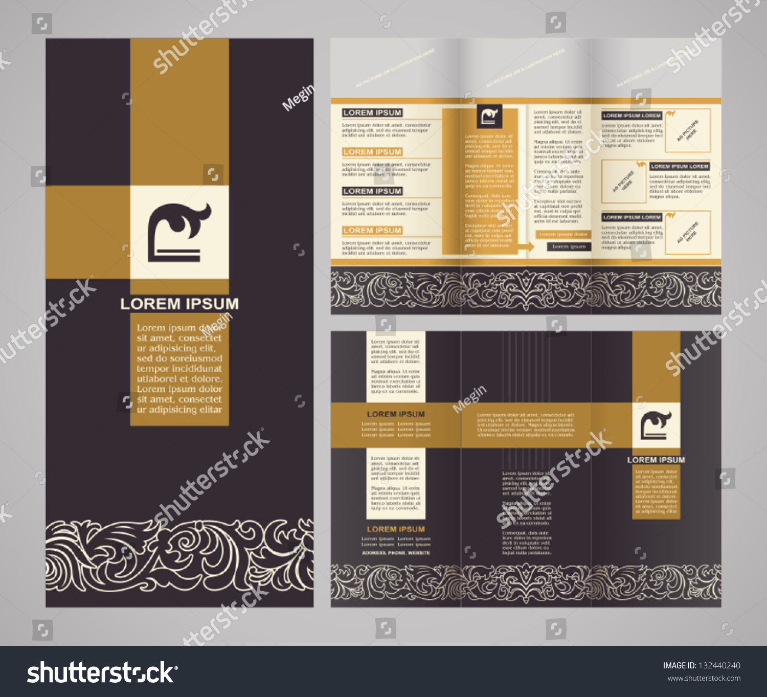 pages brochure template - vintage style brochure template design modern stock vector