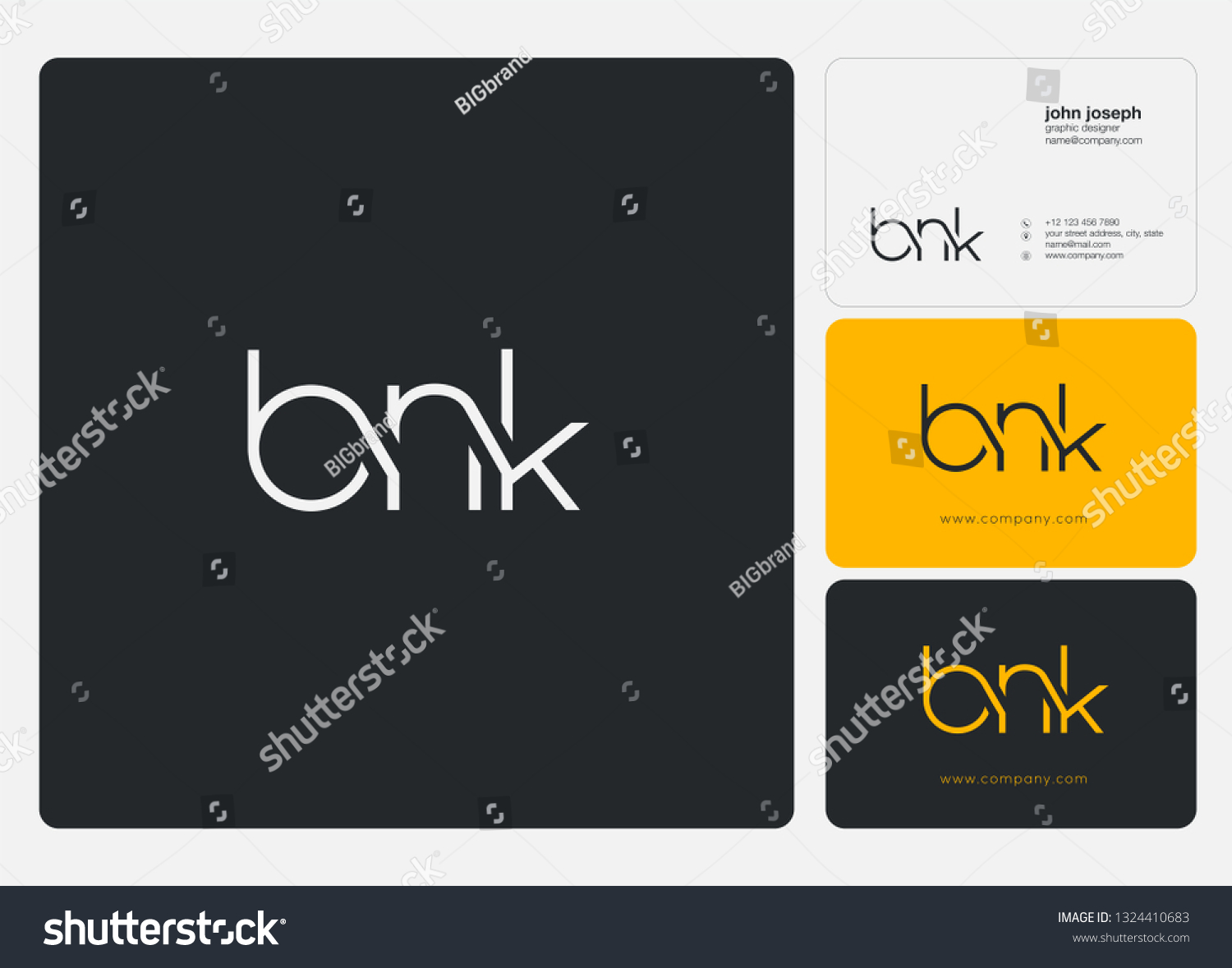 Letters B N K Logo Icon Stock Vector (Royalty Free) 1324410683