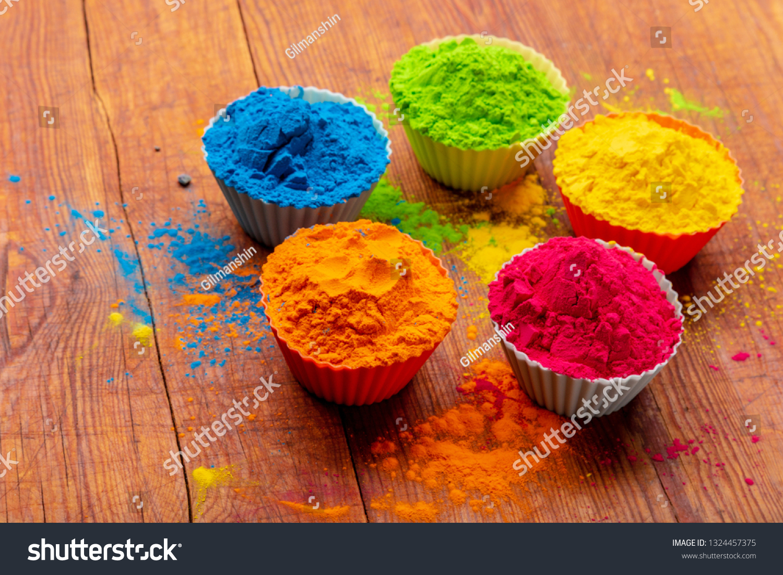 Holi Color Powder Organic Gulal Colours Stock Image ...