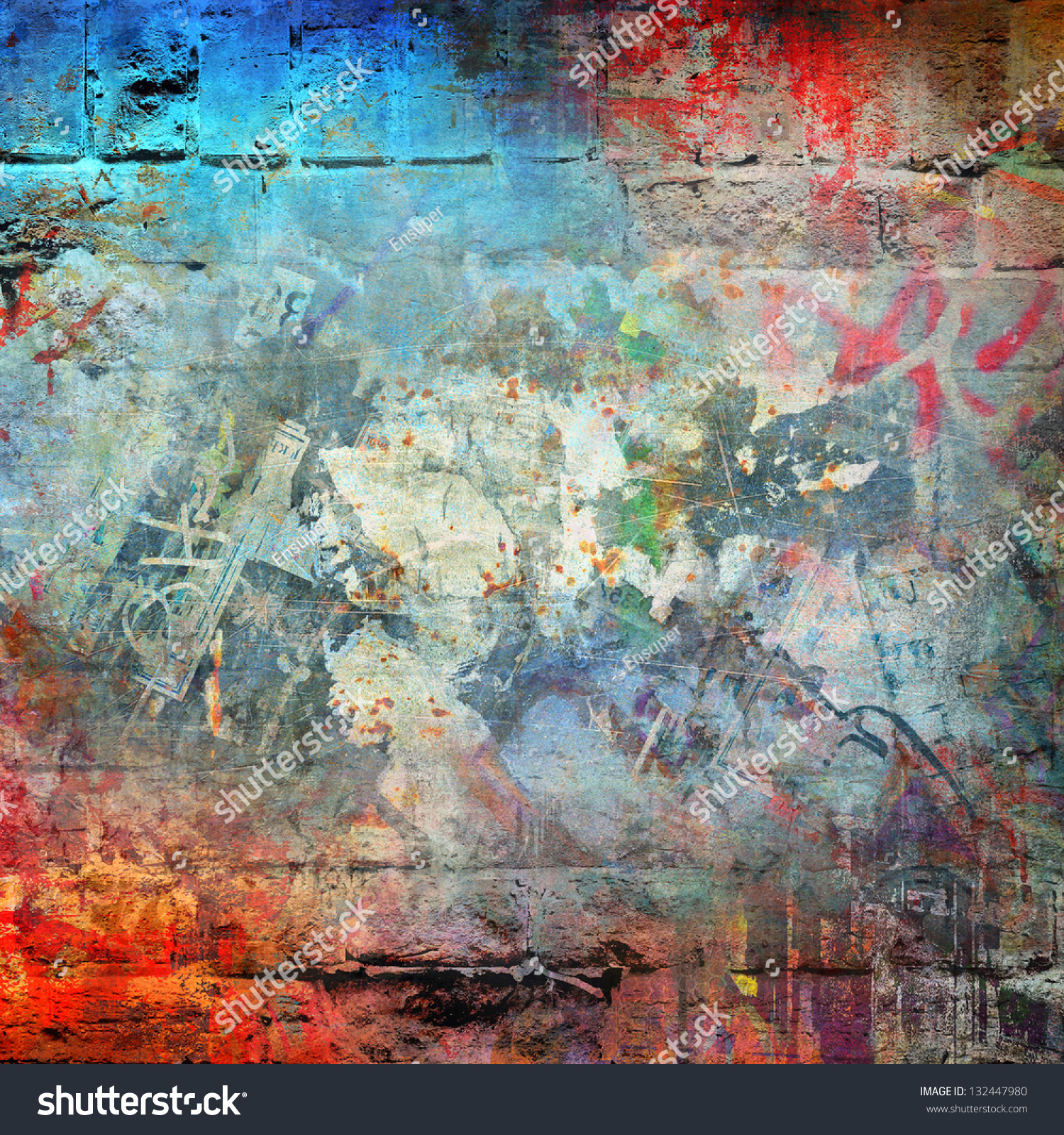 Graffiti brick wall colorful background stock illustration for Colourful wallpaper for walls