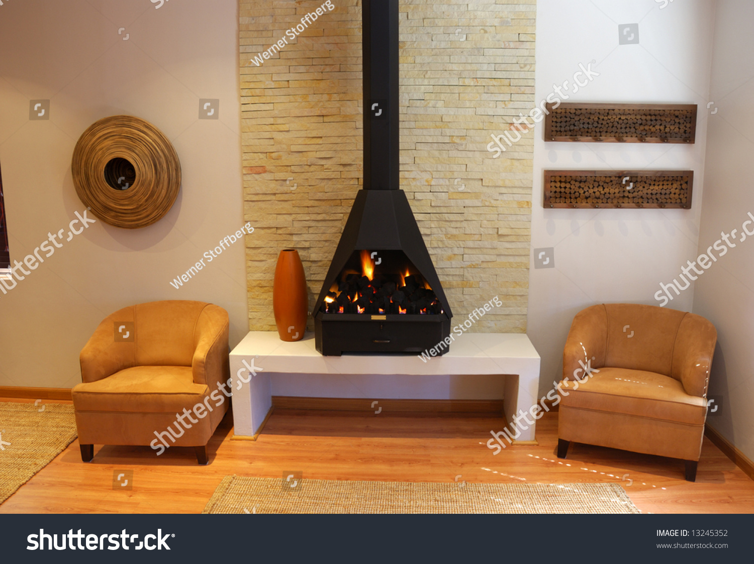cosy living room modern gas fireplace stock photo 13245352