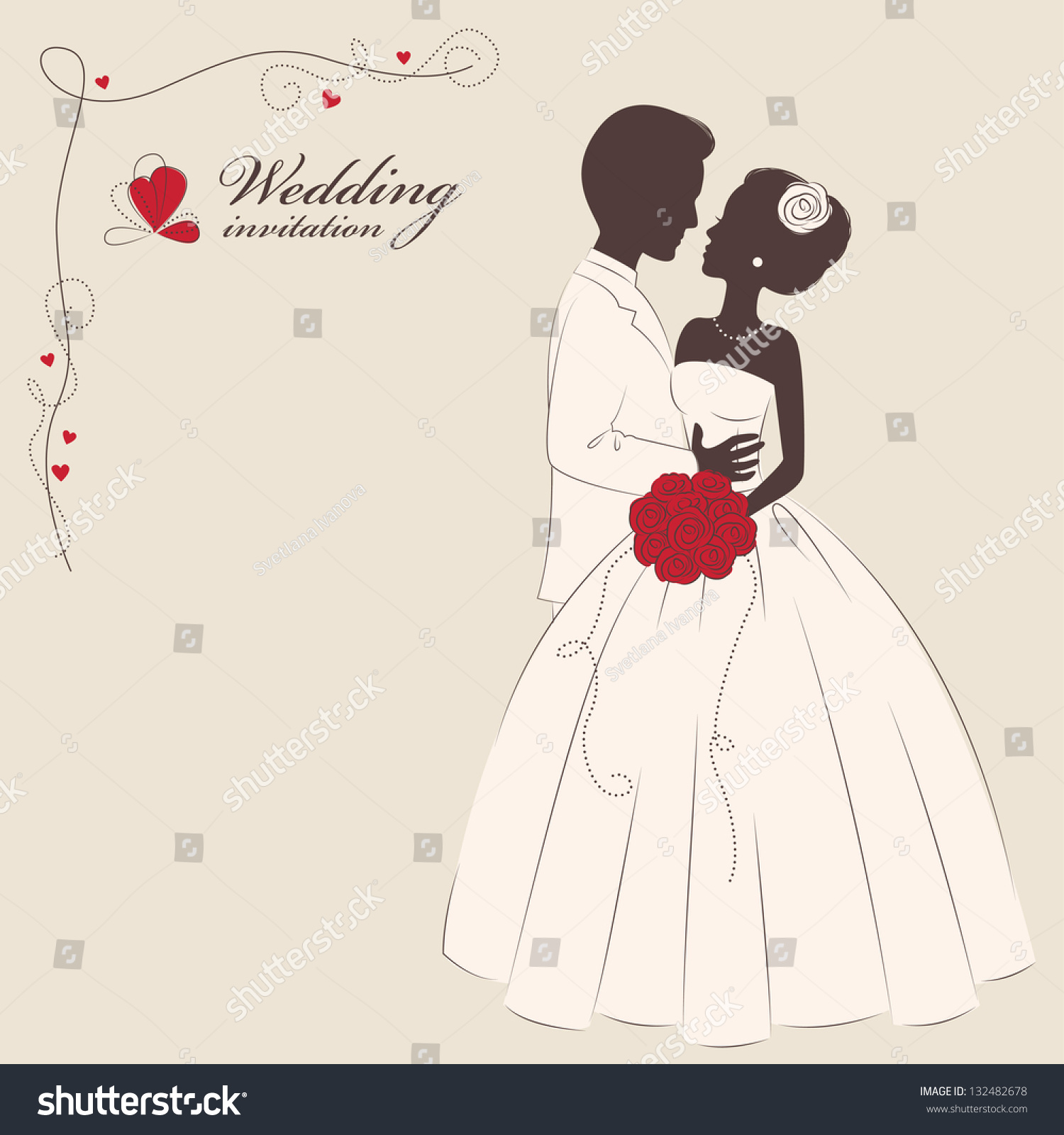 Wedding Invitation Message From Bride And Groom: Wedding Invitation . Romantic Bride And Groom . Stock