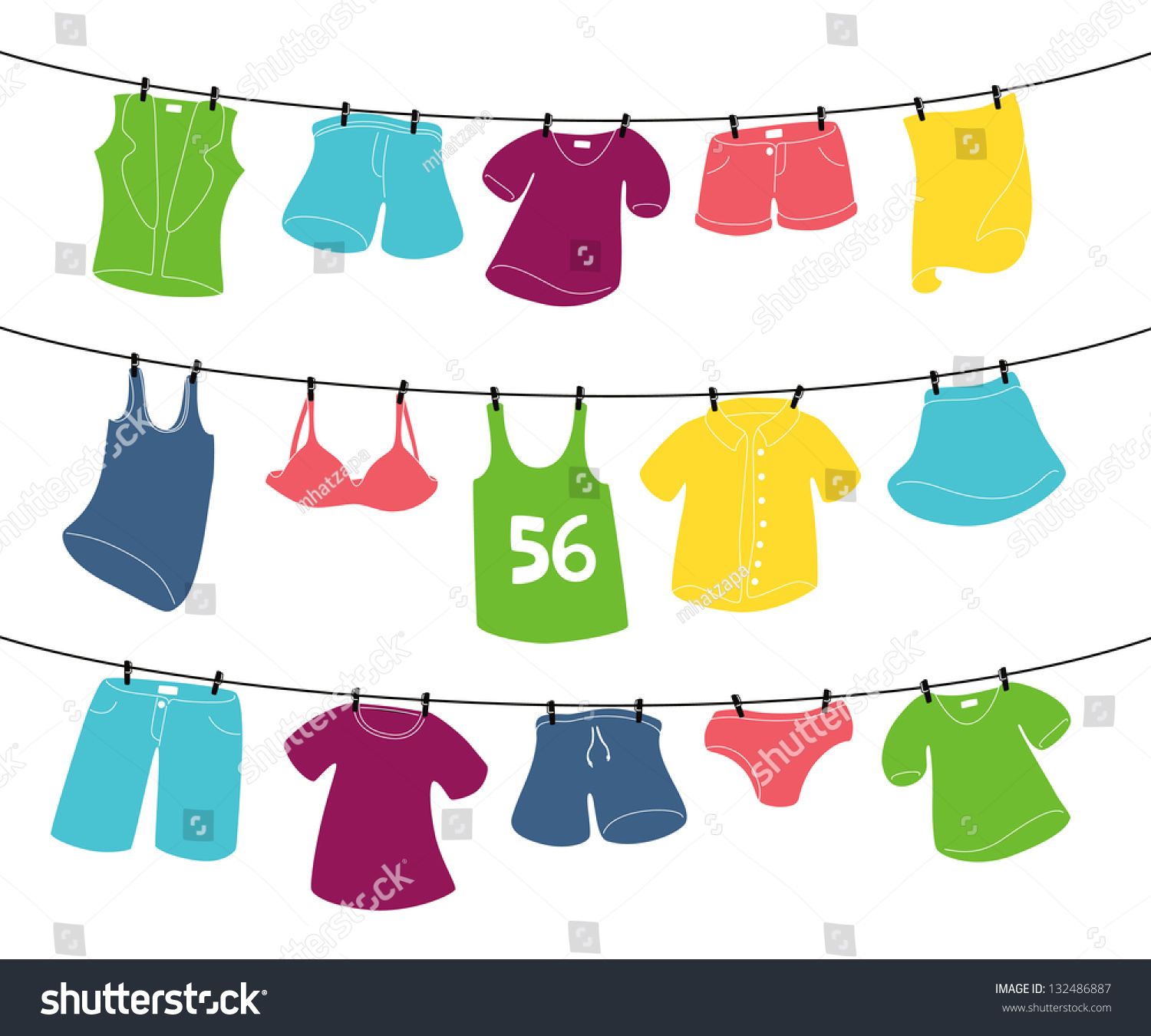 Various Clothes On Was...T Shirt Clip Art On Clothesline