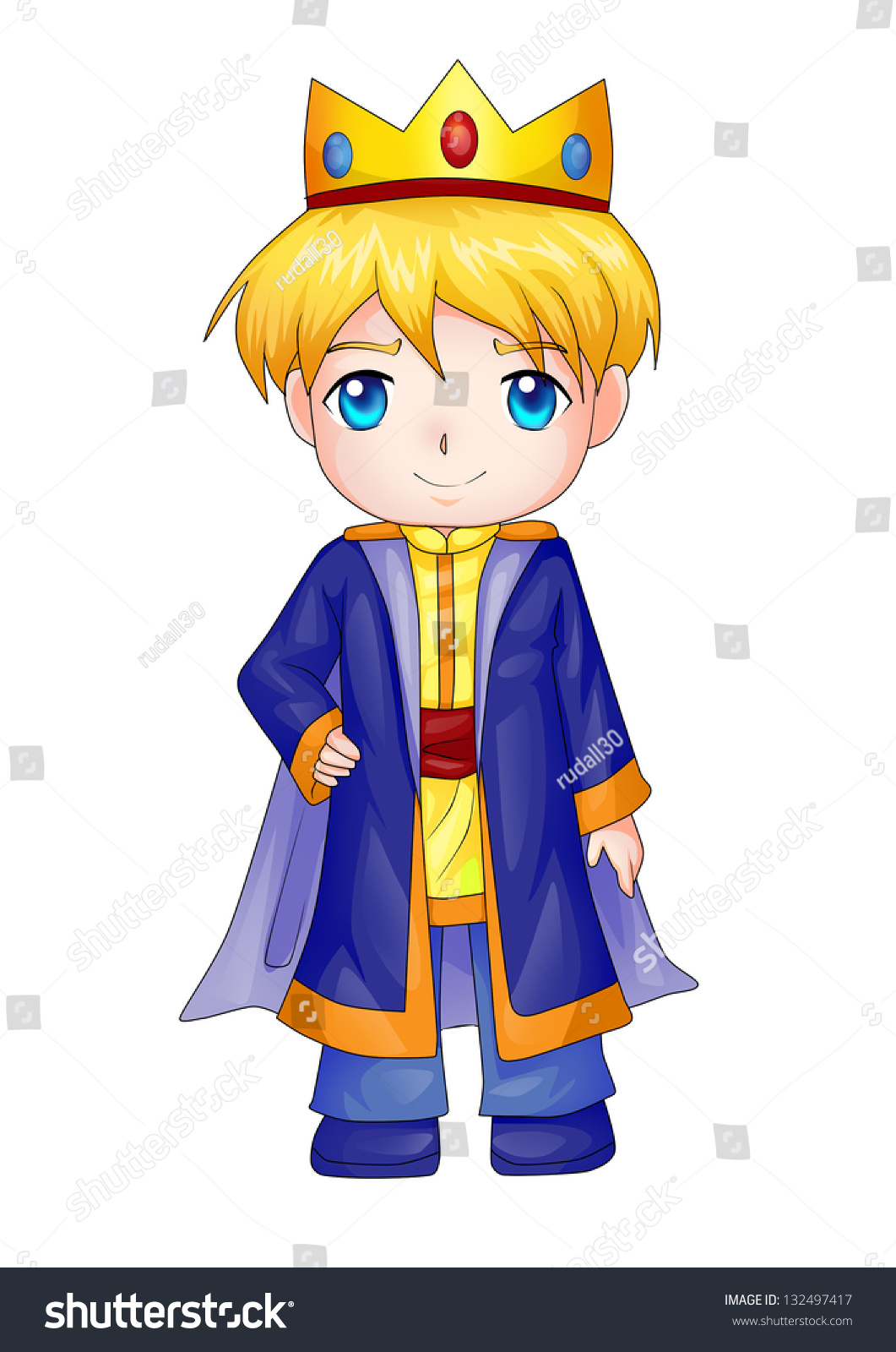 Stock Photo Cute Cartoon Illustration Of A King