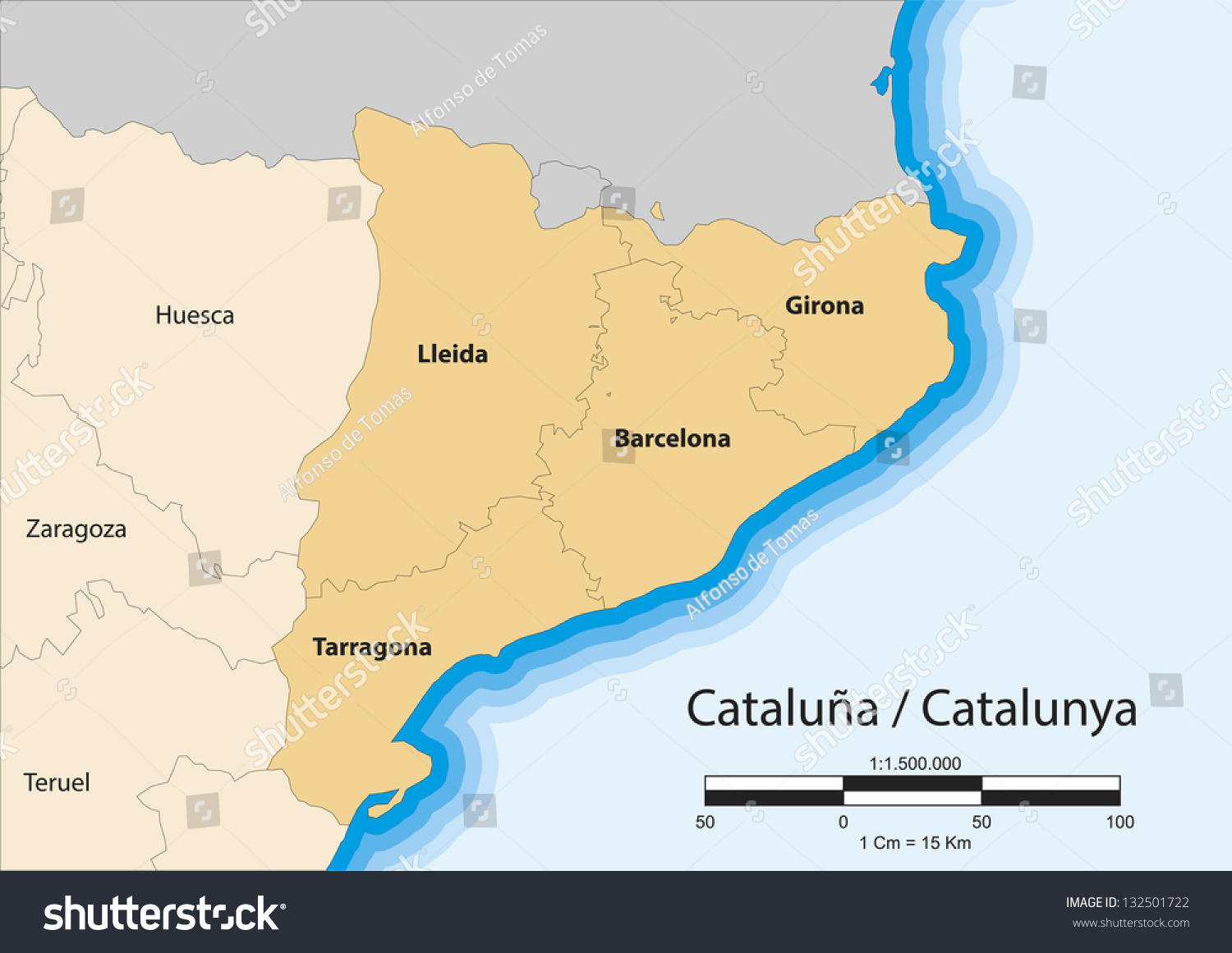 Vector Map Autonomous Community Catalonia Spain Stock Vector