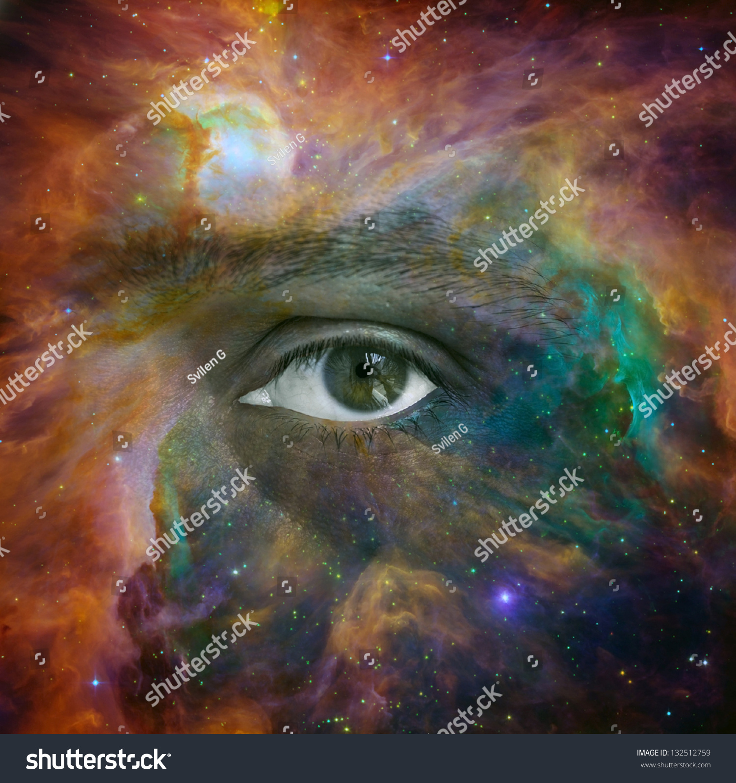Conceptual Image Of Human Eye Looking Through A Nebula In ...