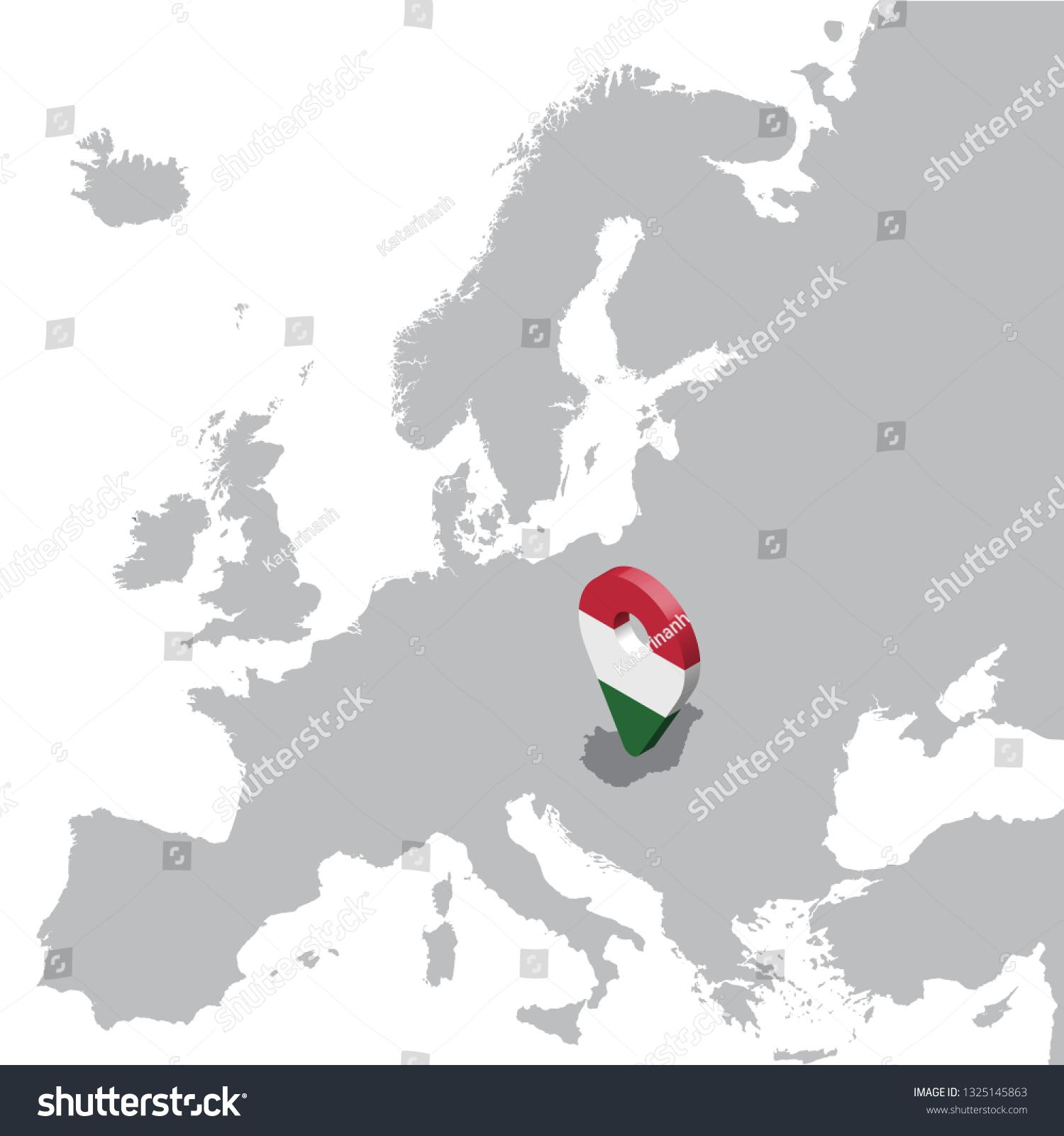Picture of: Vector De Stock Libre De Regalias Sobre Hungary Location Map On Map Europe1325145863