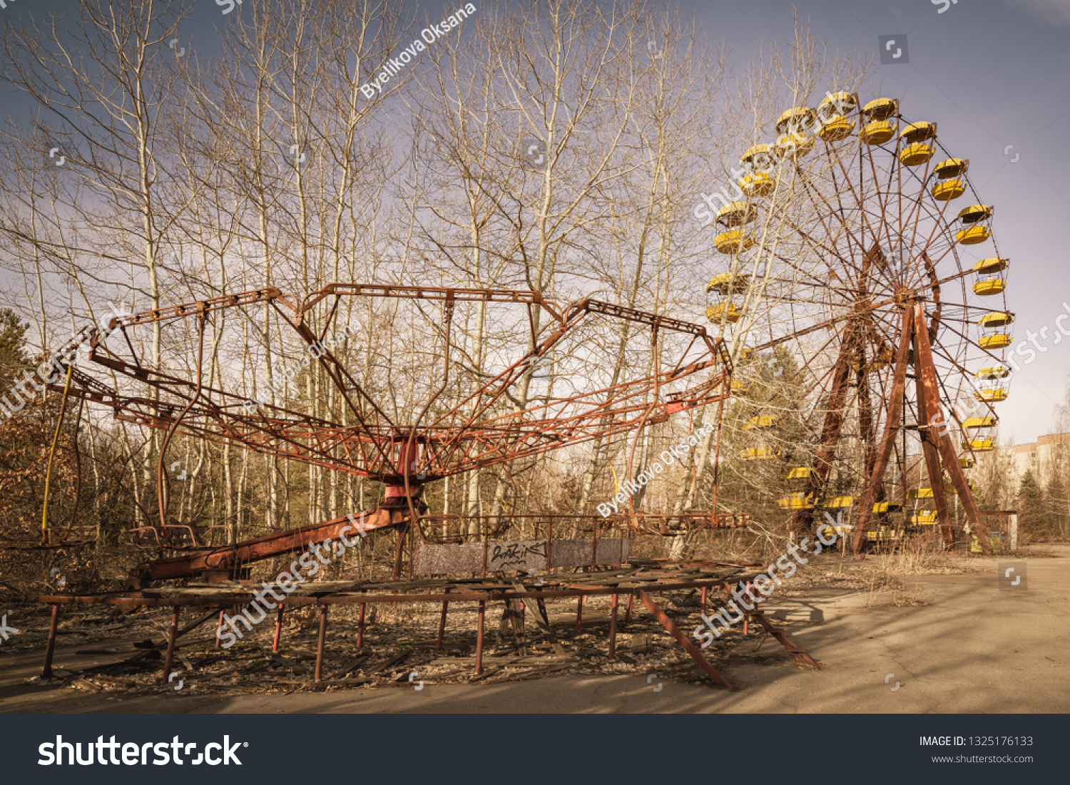 Abandoned amusement park in the center of the city of Pripyat, in Chernobyl Exclusion Zone, Ukraine #1325176133