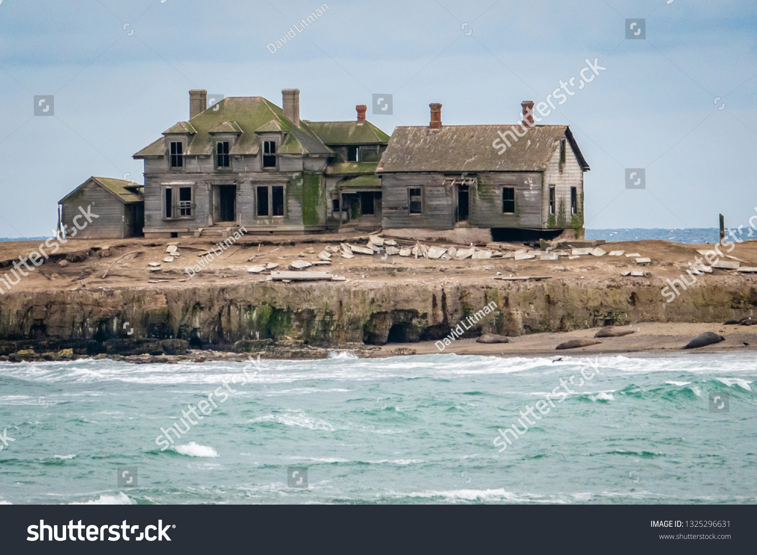 An old and weathered abandoned house remains on Ano Nuevo Island, with Northern Elephant Seals resting on the beach below.