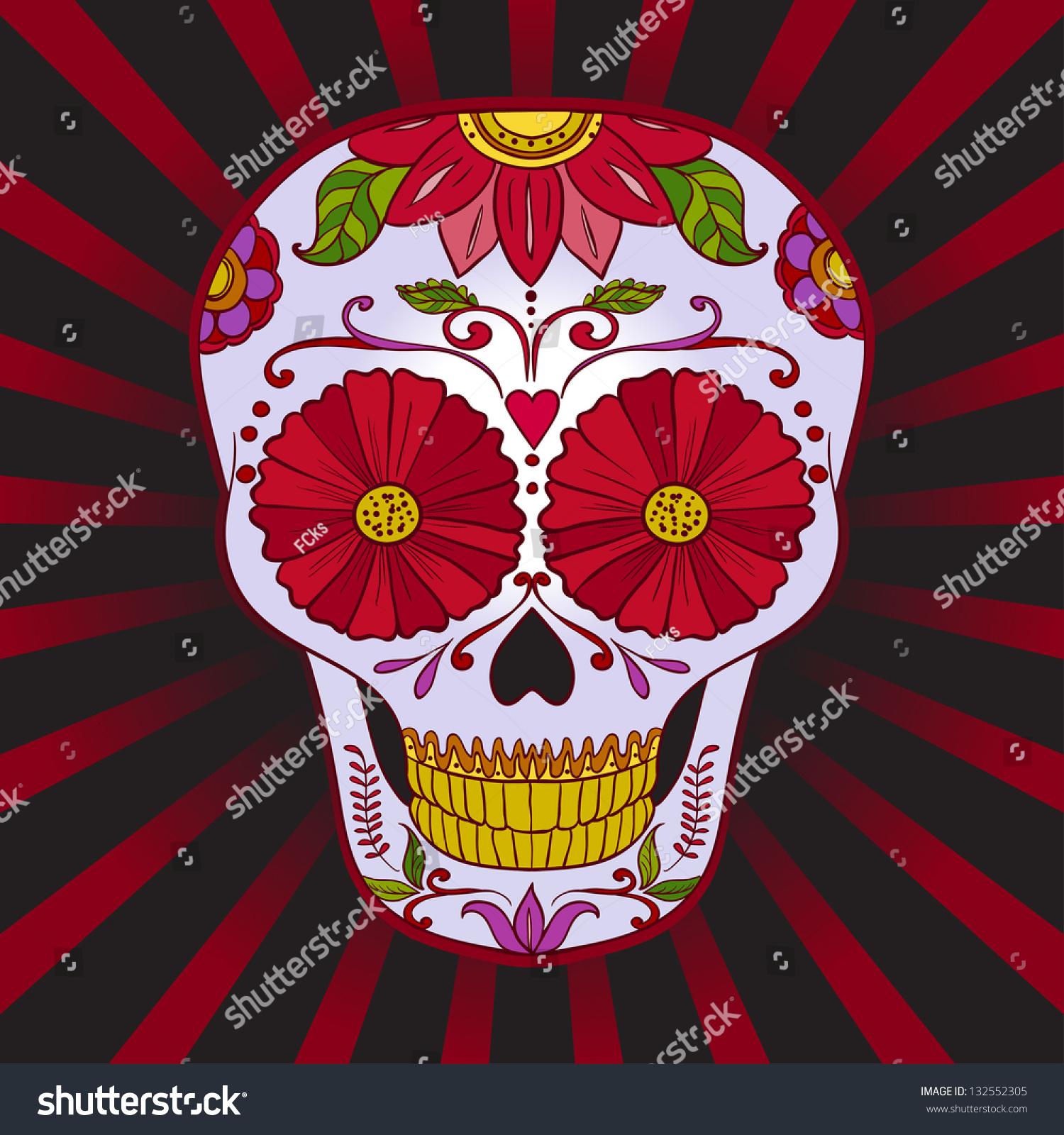 Vector Sugar Skull Dia De Los Stock Vector 132552305 - Shutterstock