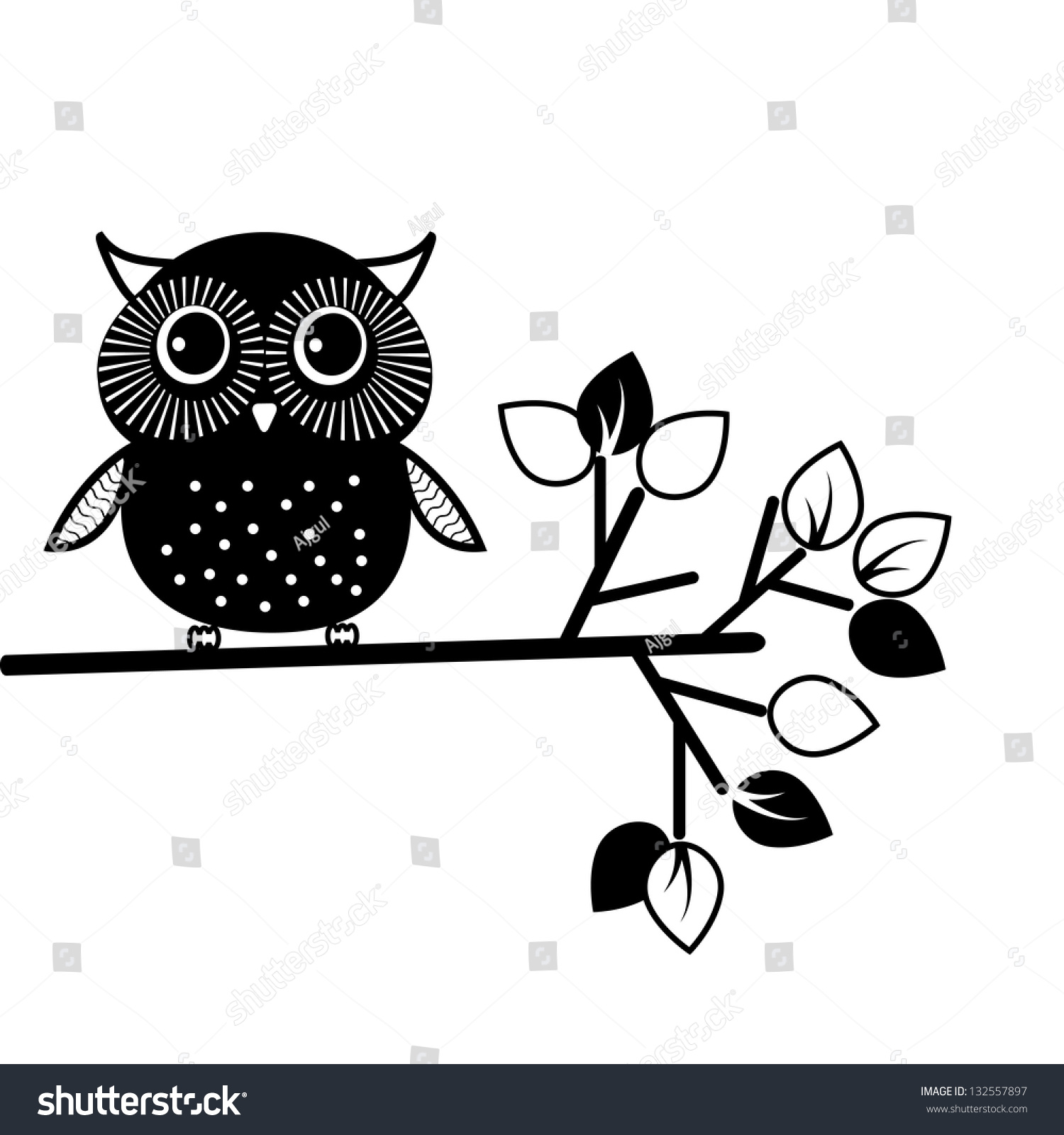 cute owl black and white vector illustration 132557897